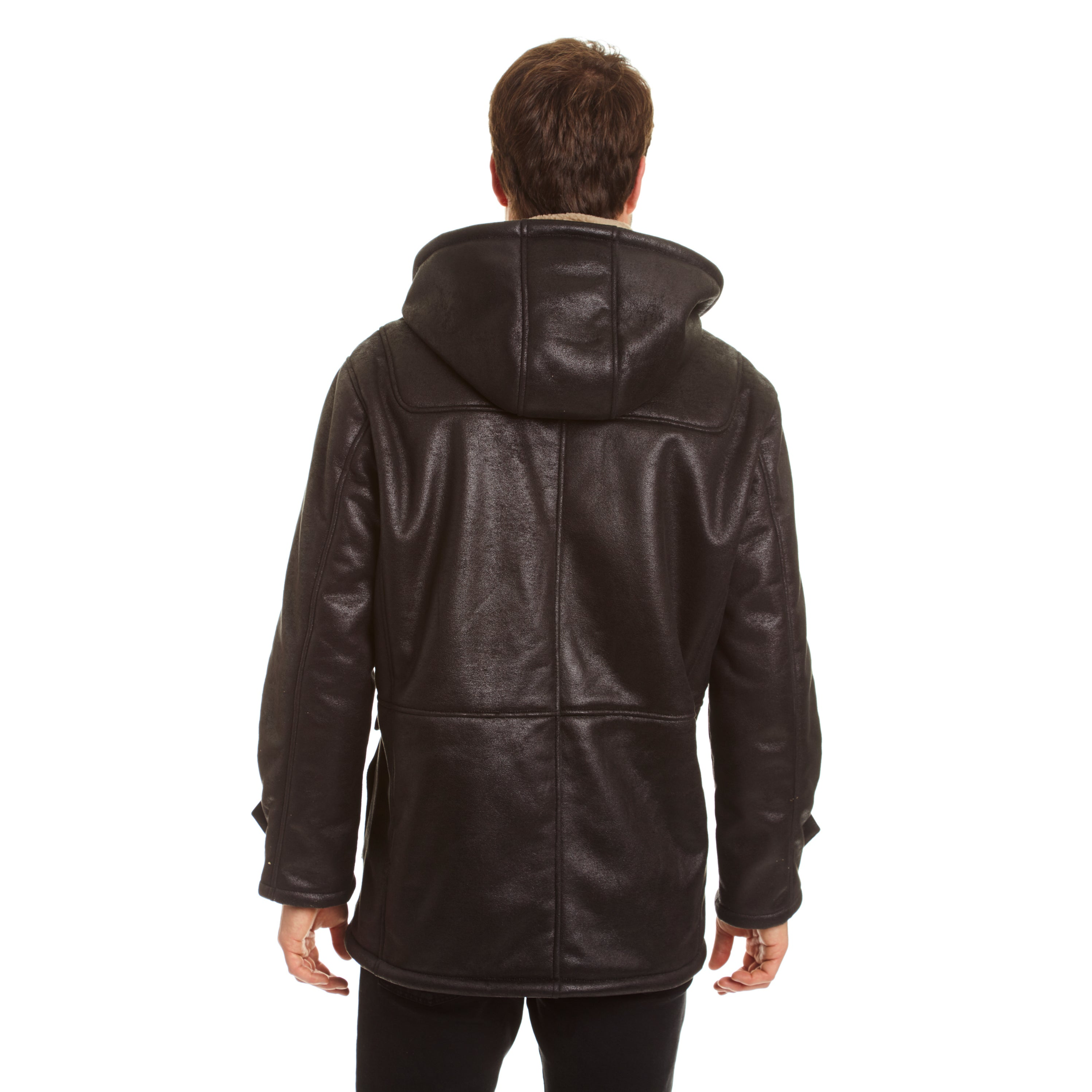 b9a933df22157 Shop Excelled Men s Big and Tall Faux Shearling Hooded Jacket - Free ...