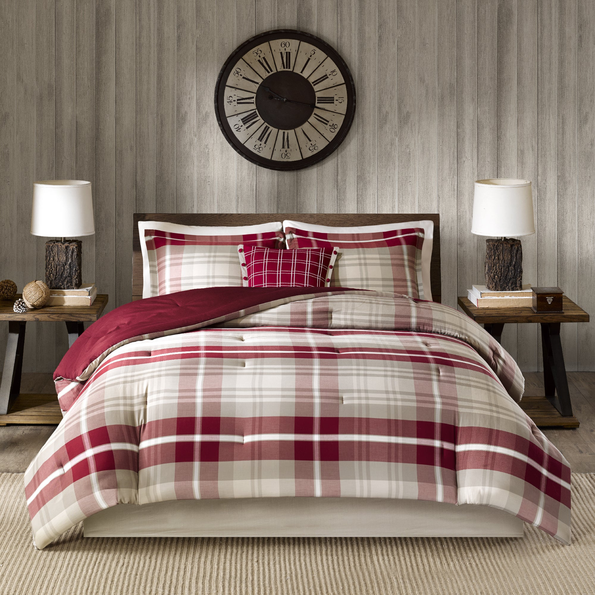 Woolrich sheridan tan red oversized cotton comforter set
