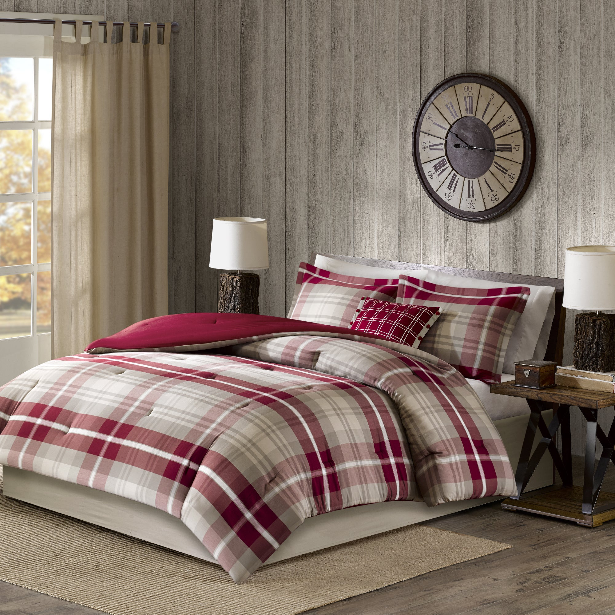 Shop Woolrich Sheridan Tan Red Oversized Cotton Comforter Set