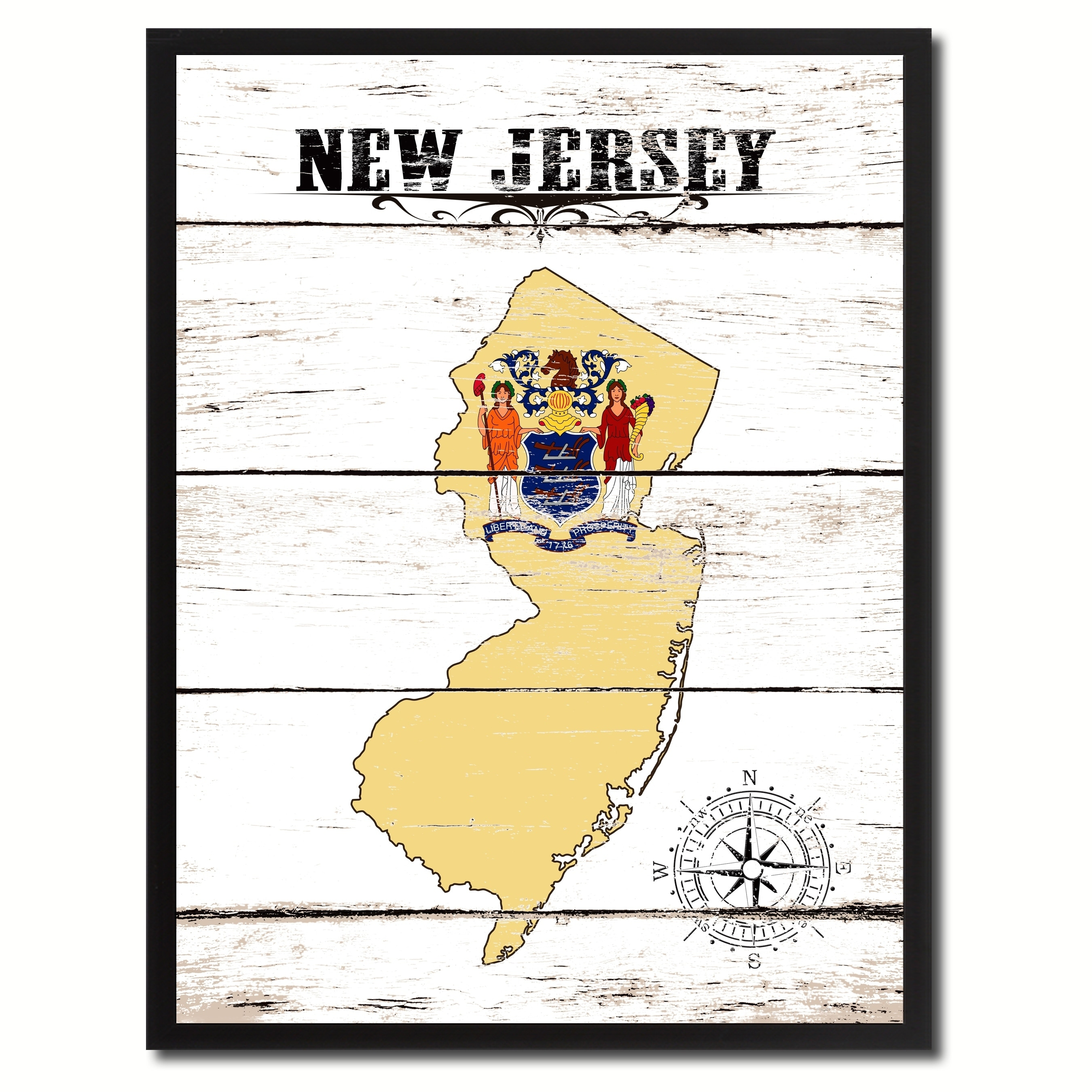 Shop New Jersey State Vintage Flag Canvas Print Picture Frame Home ...