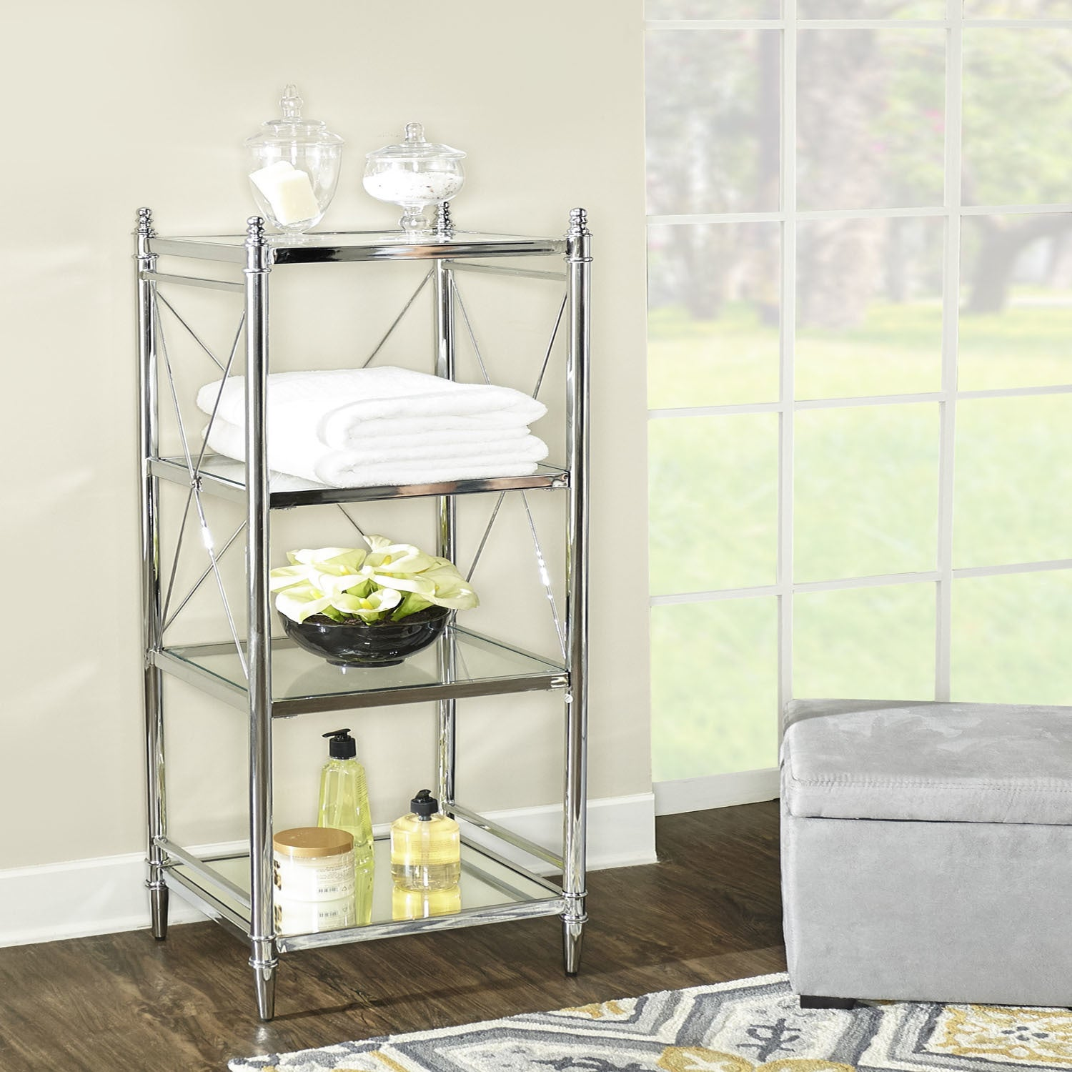 Shop Walker Chrome and Glass Four-tier Shelf - Free Shipping Today ...