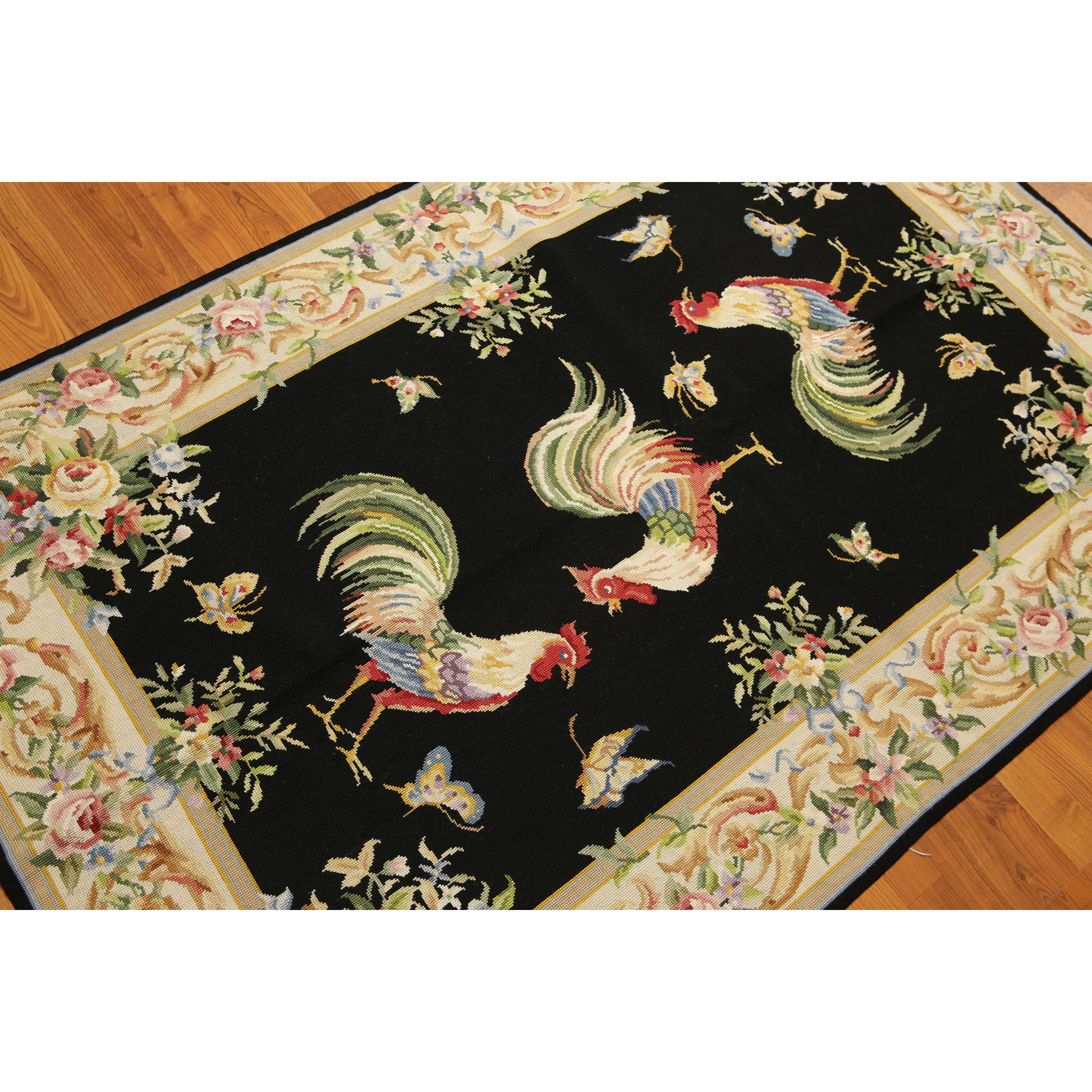 Rustic Farmhouse Rooster Country Needlepoint Area Rug 4 X6