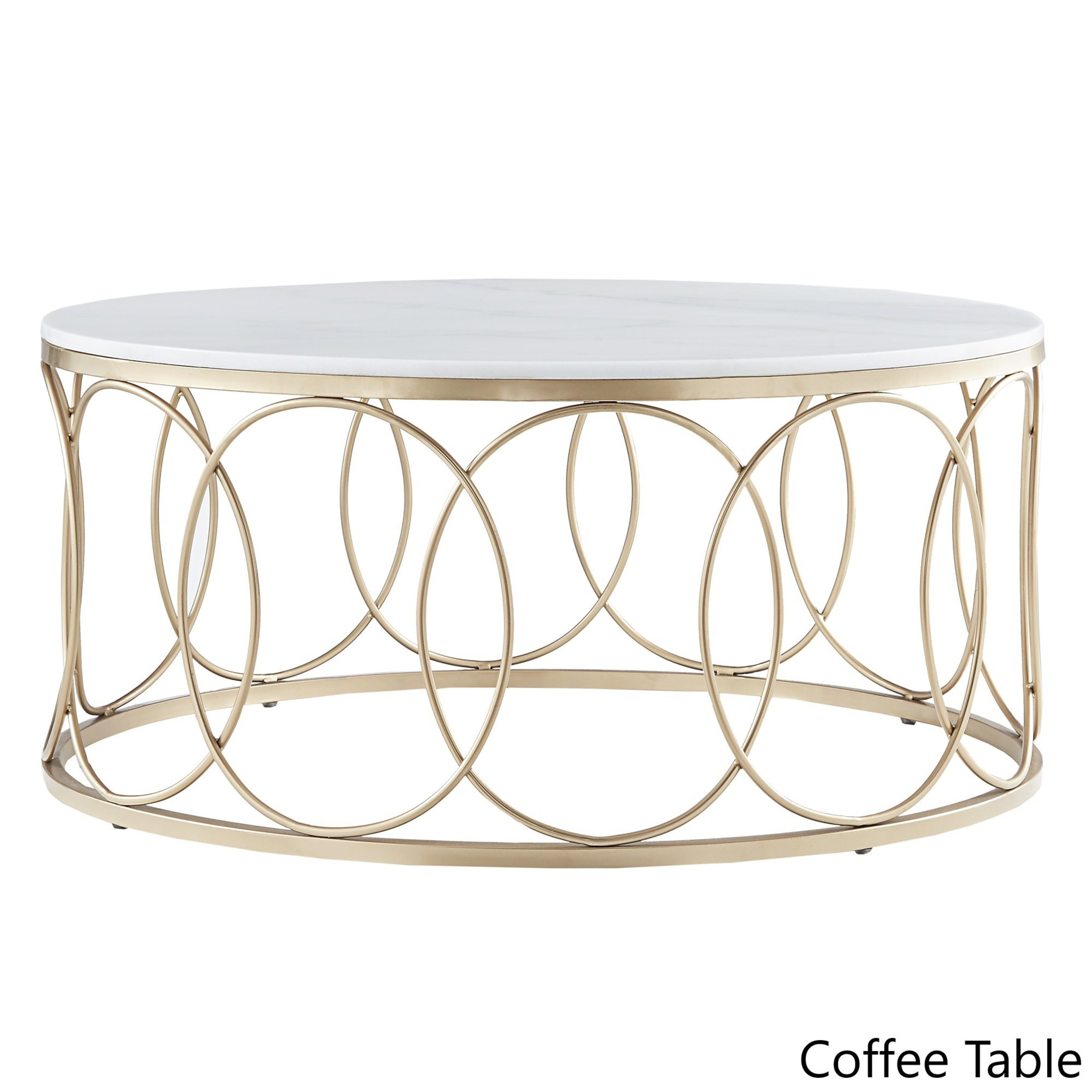 Lynn Round Gold Accent Tables with Marble Tops by iNSPIRE Q Bold - Free  Shipping Today - Overstock.com - 24156991