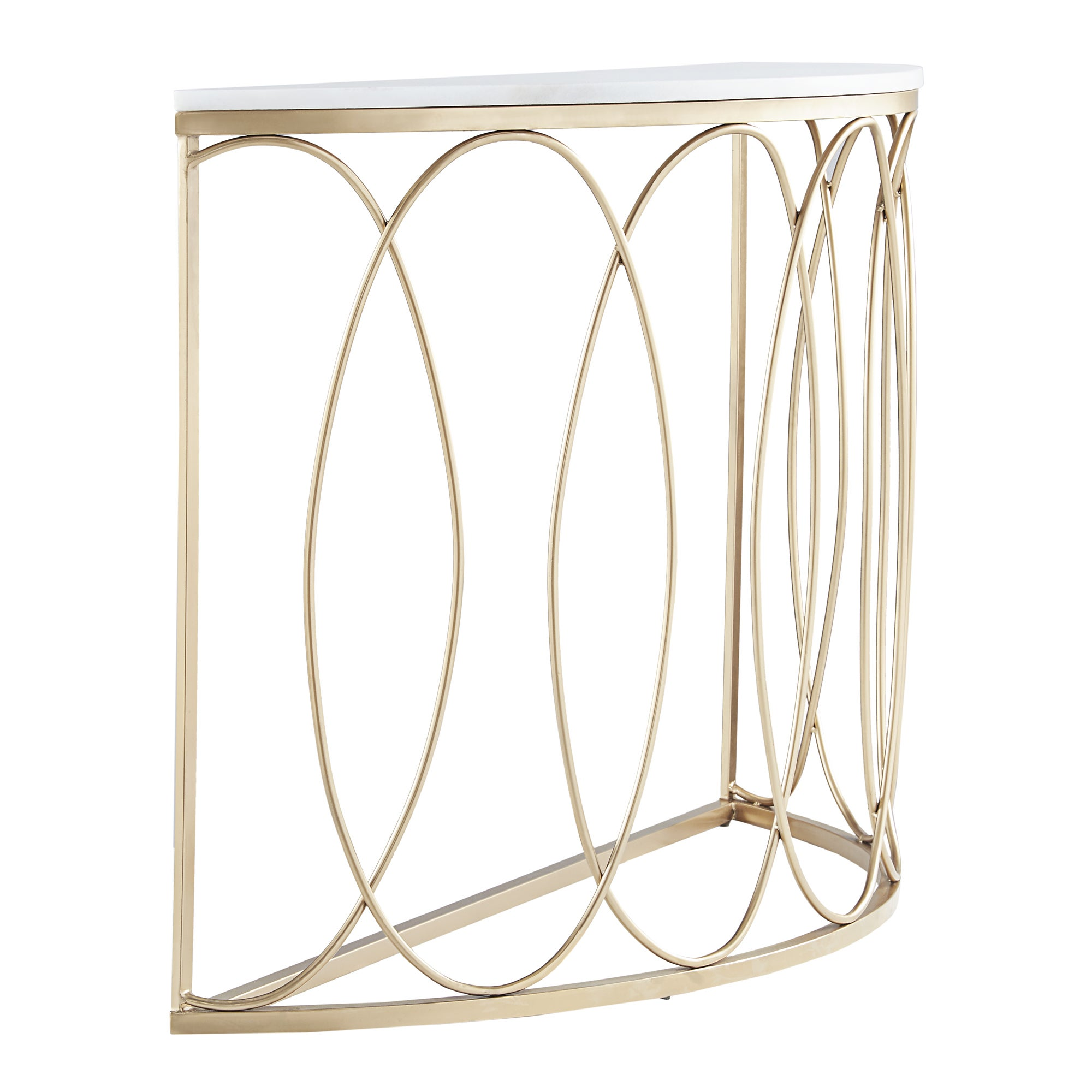 Lynn Rounded Gold Entryway Table with Marble Top by iNSPIRE Q Bold - Free  Shipping Today - Overstock.com - 24156993
