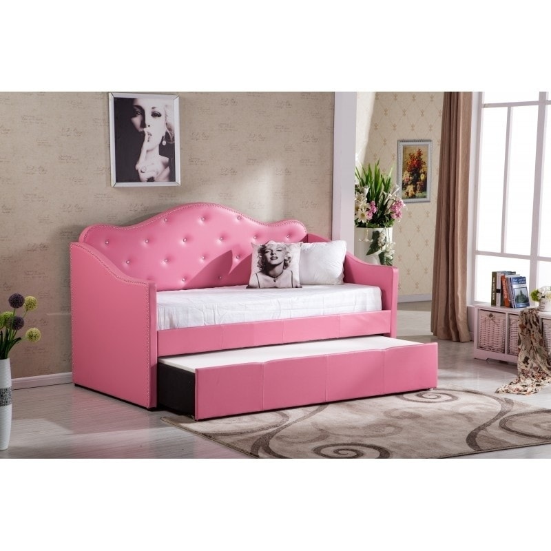 Shop Best Quality Furniture Pink Faux Leather Tufted Daybed with ...