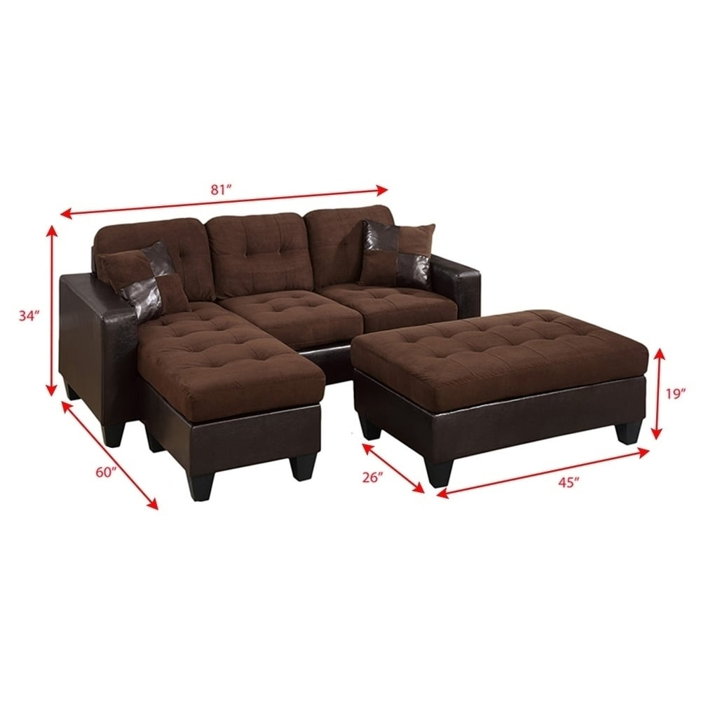 Shop All In One Reversible Sectional Sofa With 2 Accent Pillows And