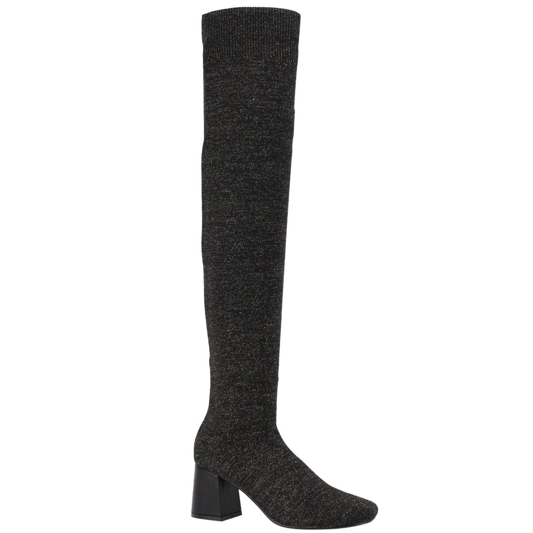c688df625 Beston EI94 Women s Stretchy Sock Knitting Pull on Block Heel Thigh Hight  Boots