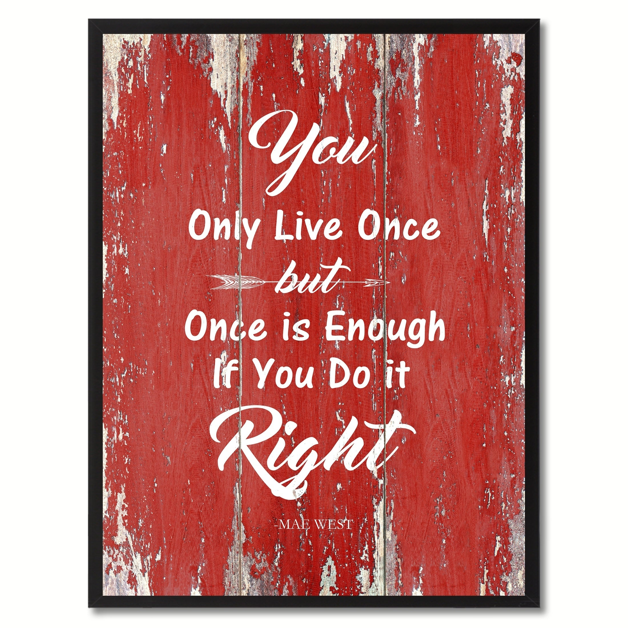 Shop You Only Live Once Inspirational Saying Canvas Print Picture ...