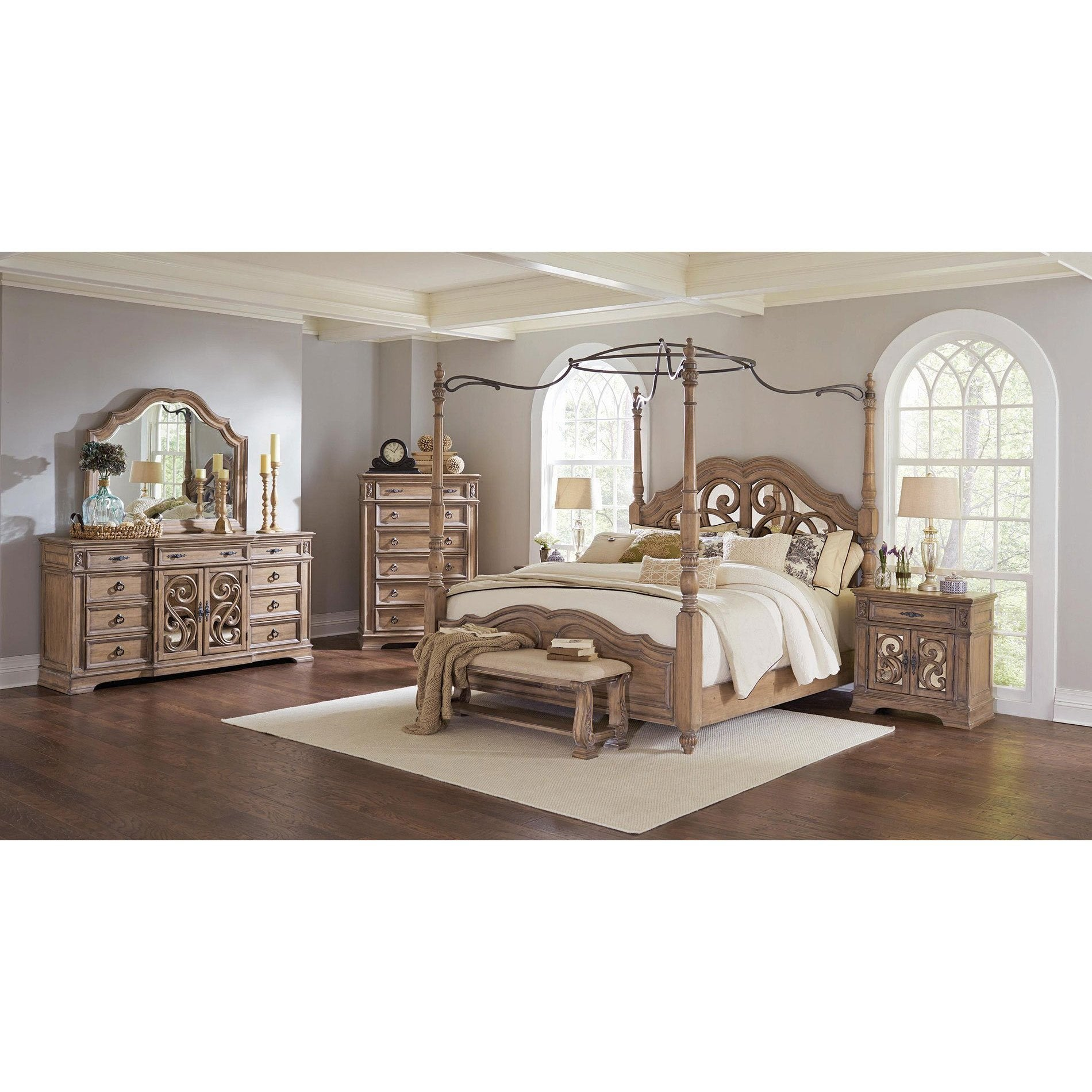 Westchester 6PC Canopy Poster Bedroom Set With 2-Door Nightstand - Free Shipping Today - Overstock.com - 24168386  sc 1 st  Overstock & Westchester 6PC Canopy Poster Bedroom Set With 2-Door Nightstand ...