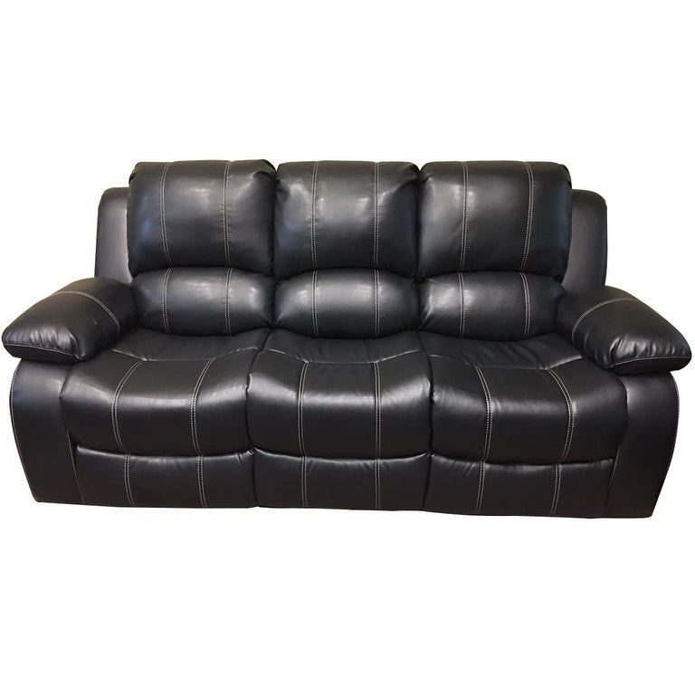 Manning Faux Leather Black Sofa