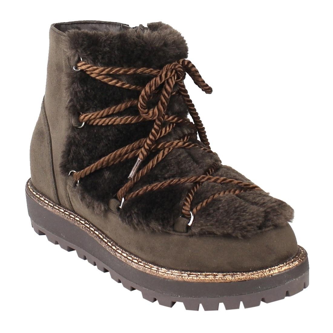 FM21 Women's Strappy Ankle High Side Zipper Lug Sole Winter Snow Booties