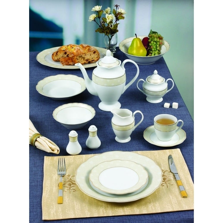 57 Piece Wavy Dinnerware Set-Porcelain China Service for 8 People-Tova - Free Shipping Today - Overstock.com - 24171044  sc 1 st  Overstock & 57 Piece Wavy Dinnerware Set-Porcelain China Service for 8 People ...