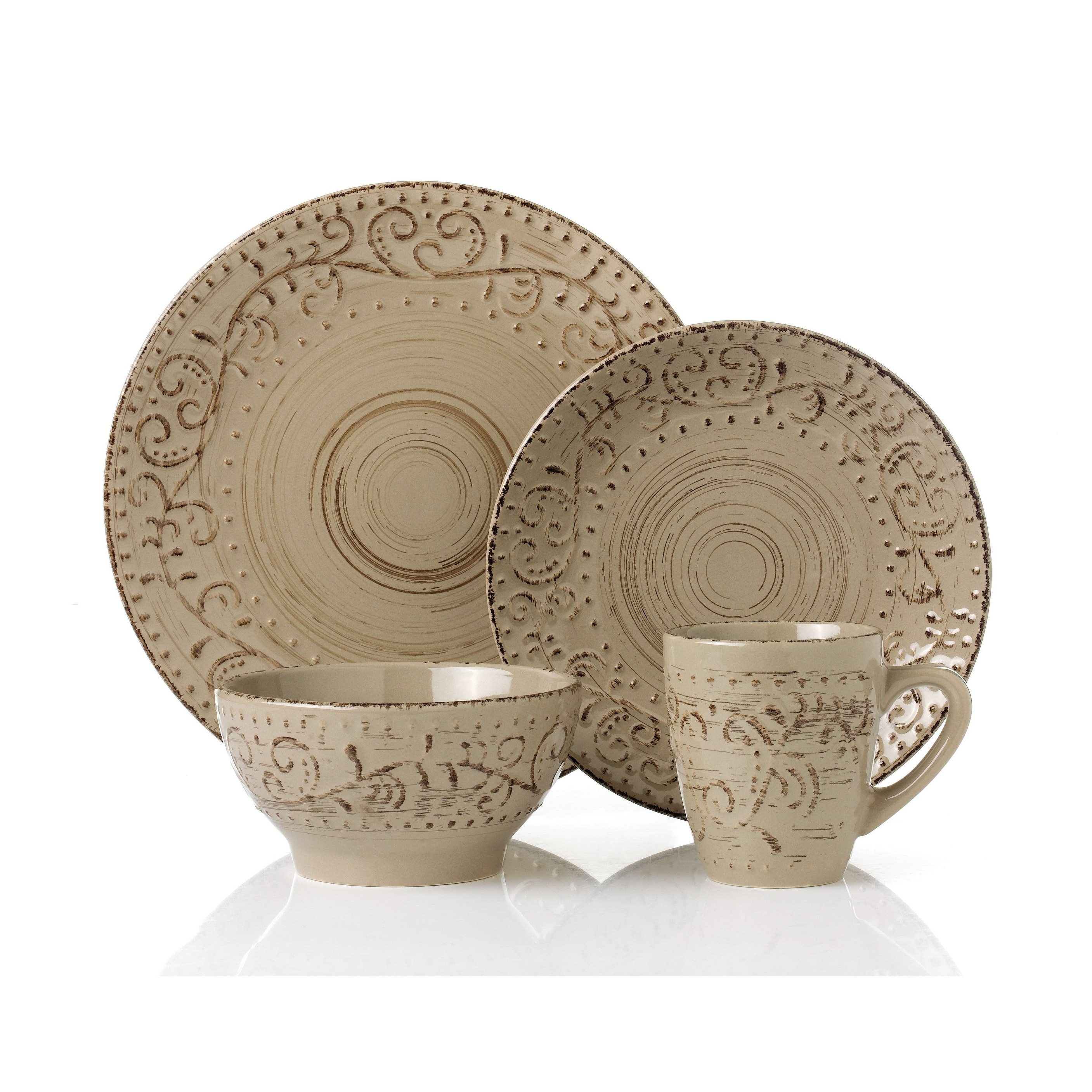 Shop 16 Piece Round Stoneware Dinnerware Set Distressed -Mocca ...