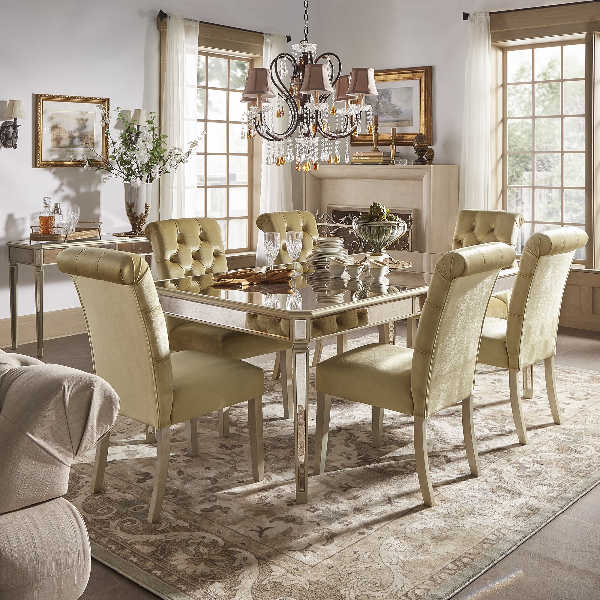 Clara Gold Velvet And Antique Gold Mirrored Dining Set By INSPIRE Q Bold    Free Shipping Today   Overstock.com   24171275 Nice Ideas