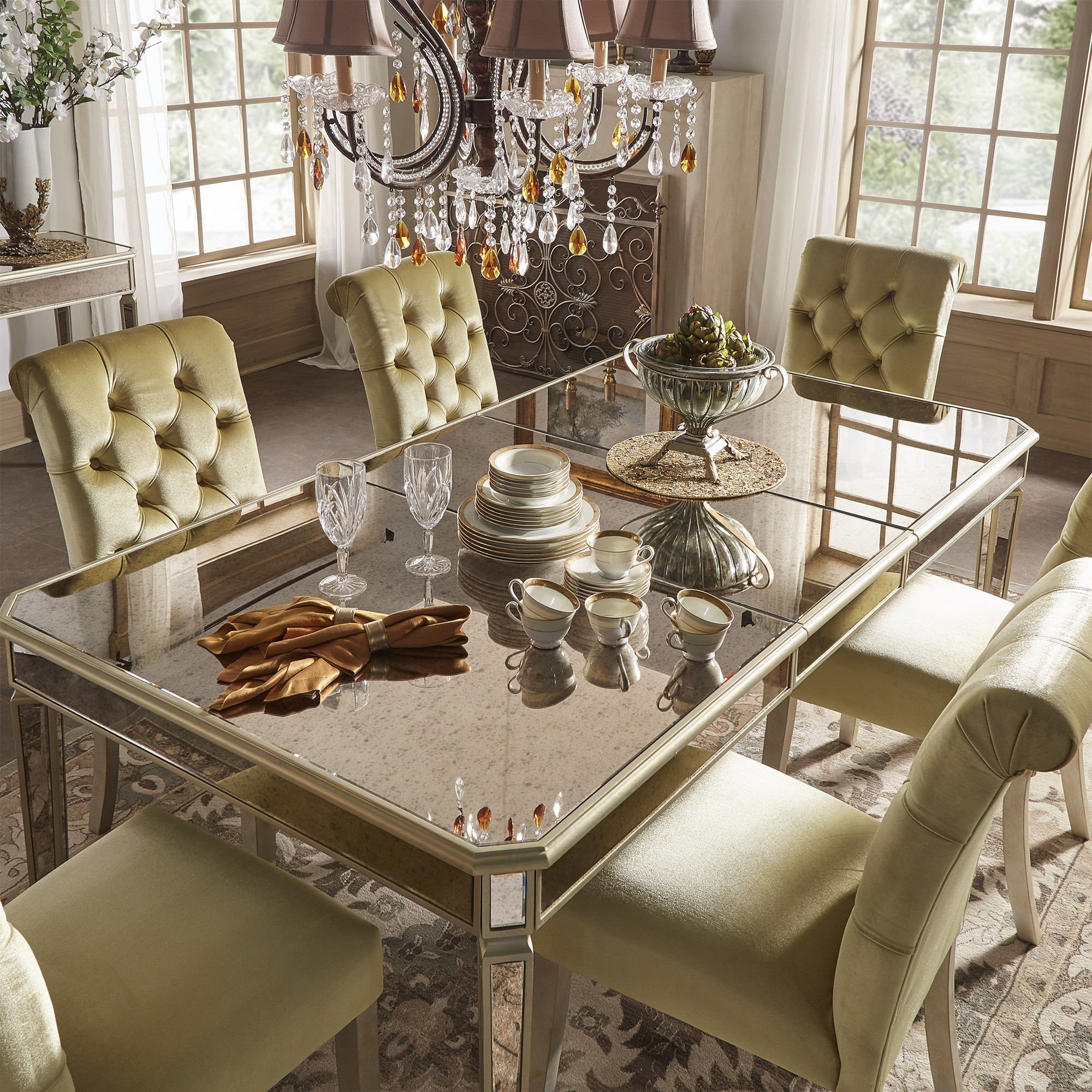 Clara Gold Velvet And Antique Gold Mirrored Dining Set By INSPIRE Q Bold    Free Shipping Today   Overstock.com   24171275