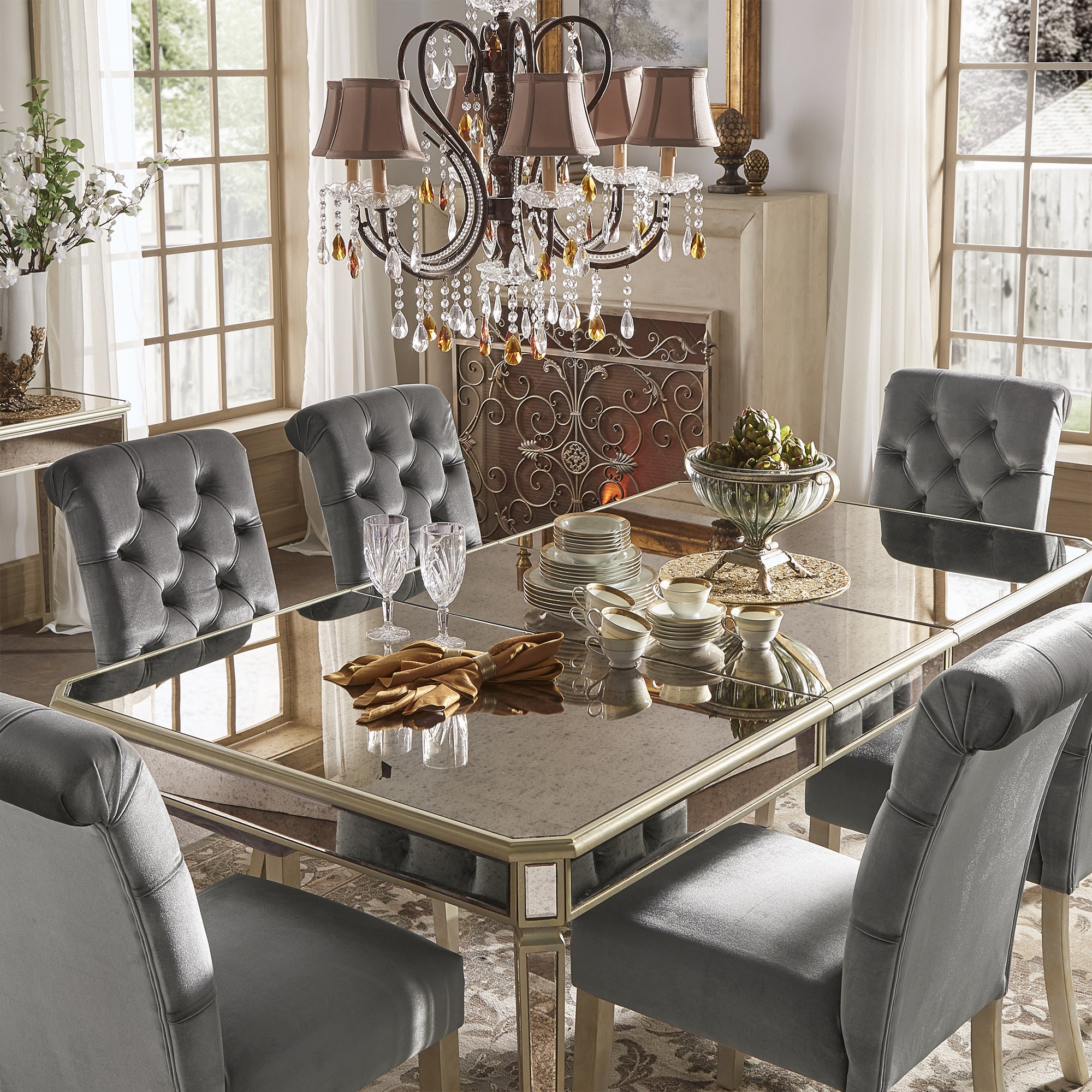 Shop Clara Silver Velvet And Antique Gold Mirrored Dining Set By - Silver mirrored dining table