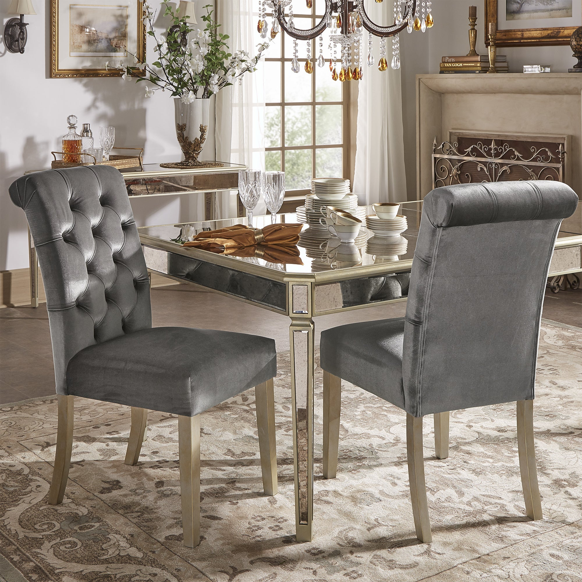 Clara Silver Velvet And Antique Gold Mirrored Dining Set By INSPIRE Q Bold    Free Shipping Today   Overstock.com   24171276