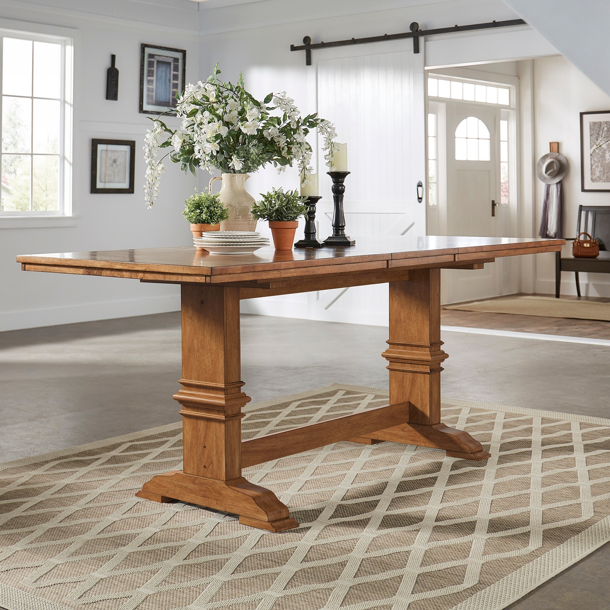 Shop eleanor solid wood counter height trestle base dining table by inspire q classic on sale free shipping today overstock com 17999921