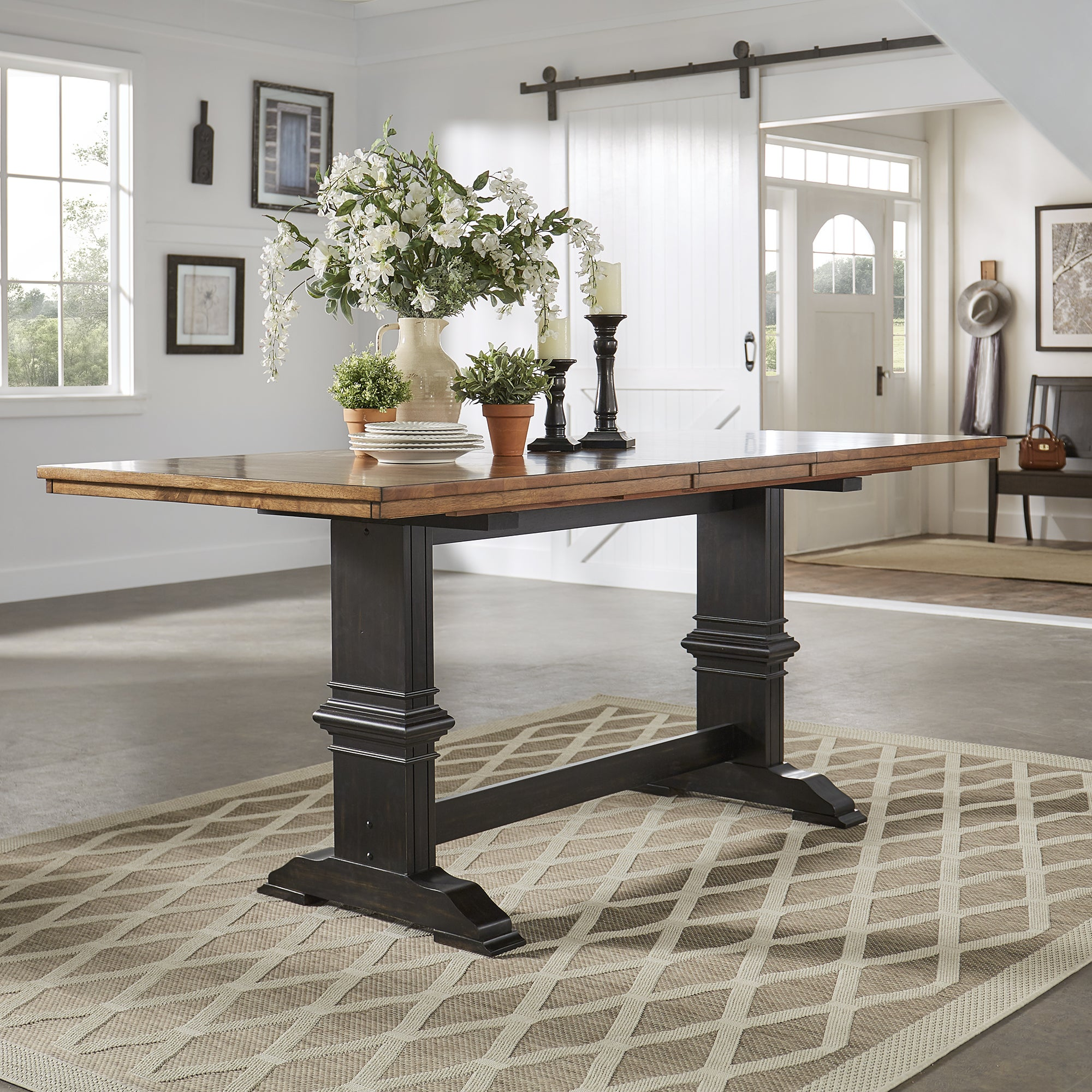 Shop Eleanor Solid Wood Counter Height Trestle Base Dining Table By