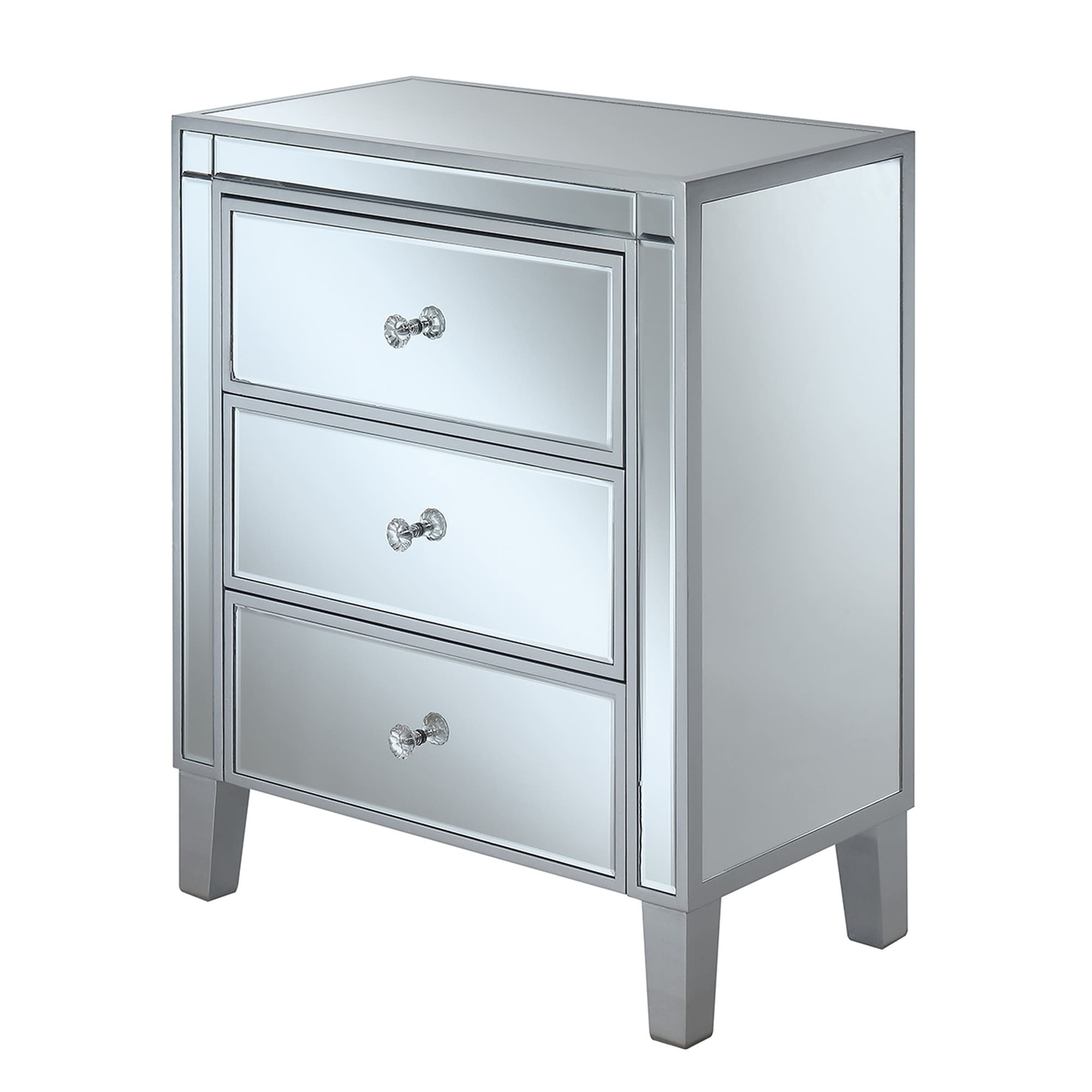 Convenience Concepts Gold Coast 3 Drawer Mirrored End Table - Free ...