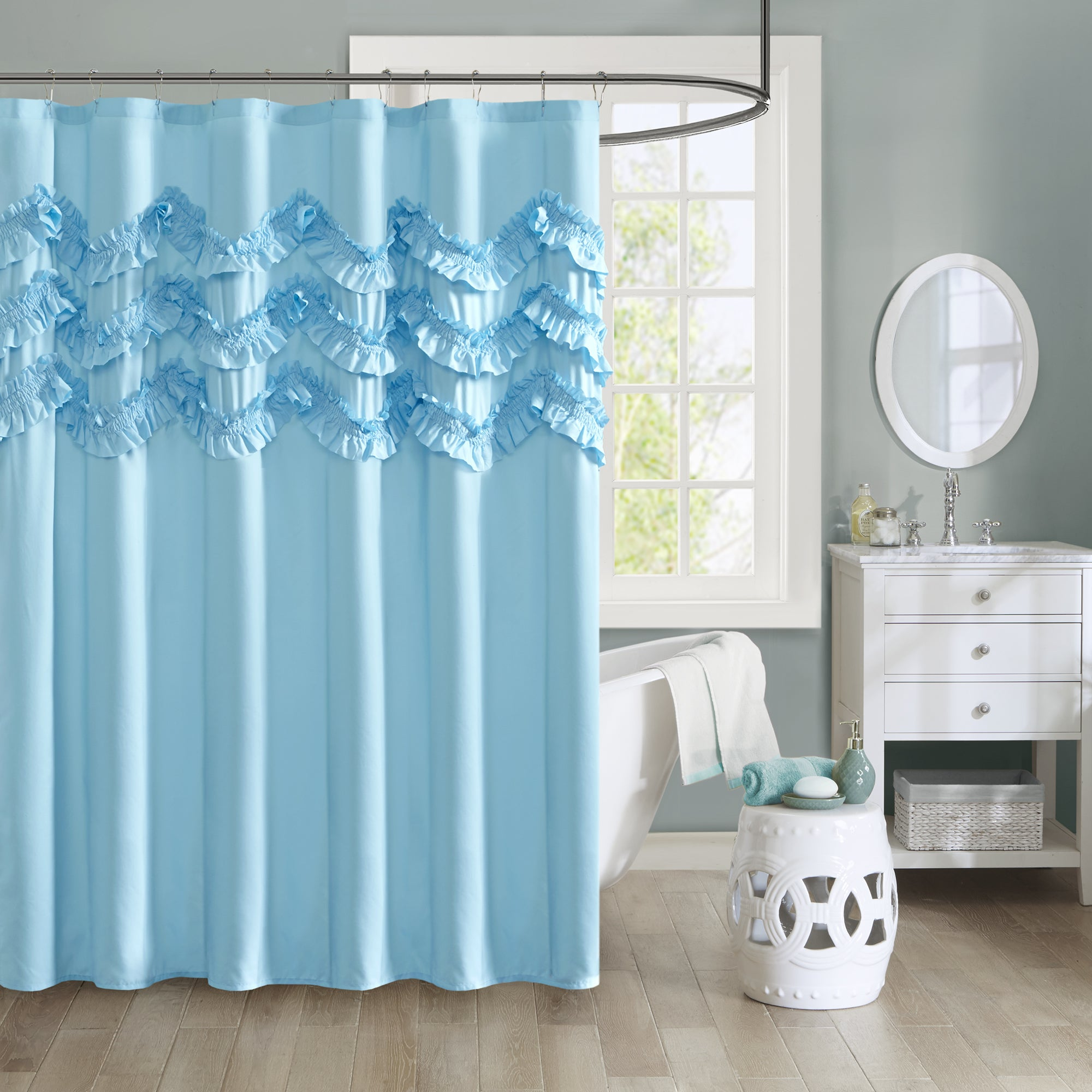Shop Intelligent Design Carmen Ruffle Shower Curtain (2 Color ...