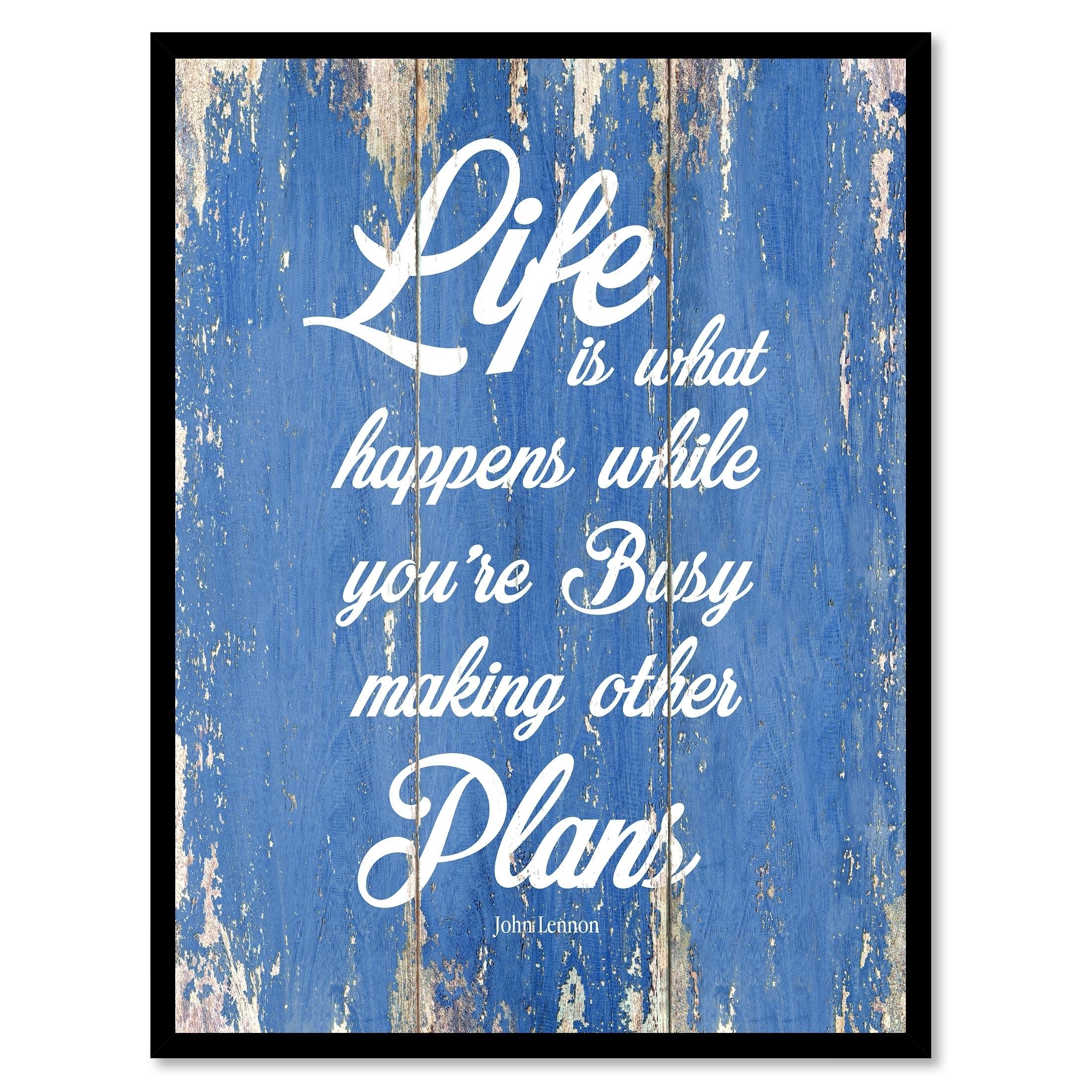 Shop Life Is What Happens John Lennon Motivation Quote Saying Canvas