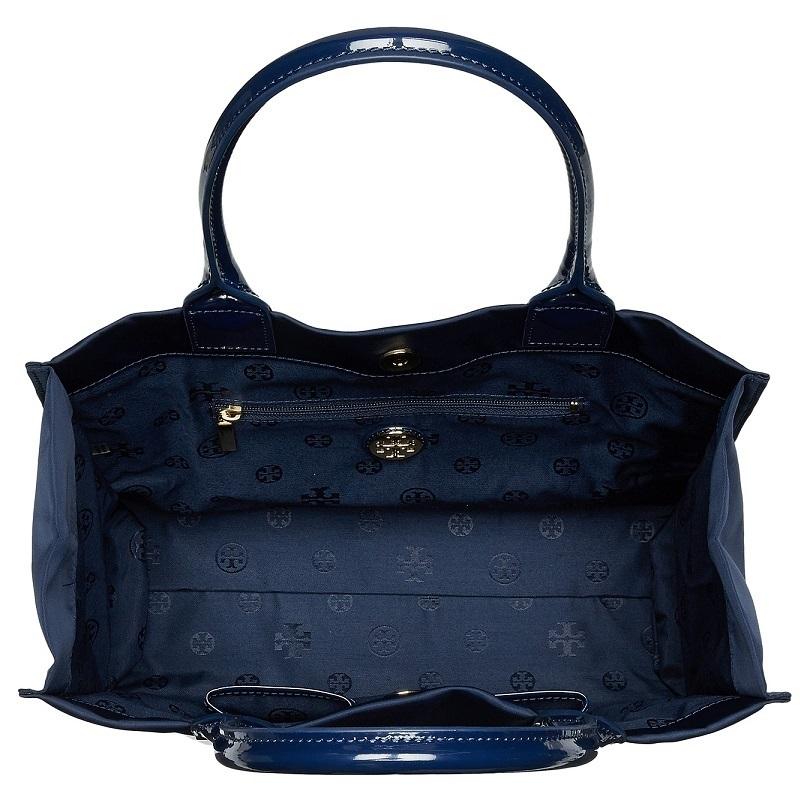 538e0016e6ce Shop Tory Burch Ella French Navy Nylon Mini Tote Bag - On Sale ...