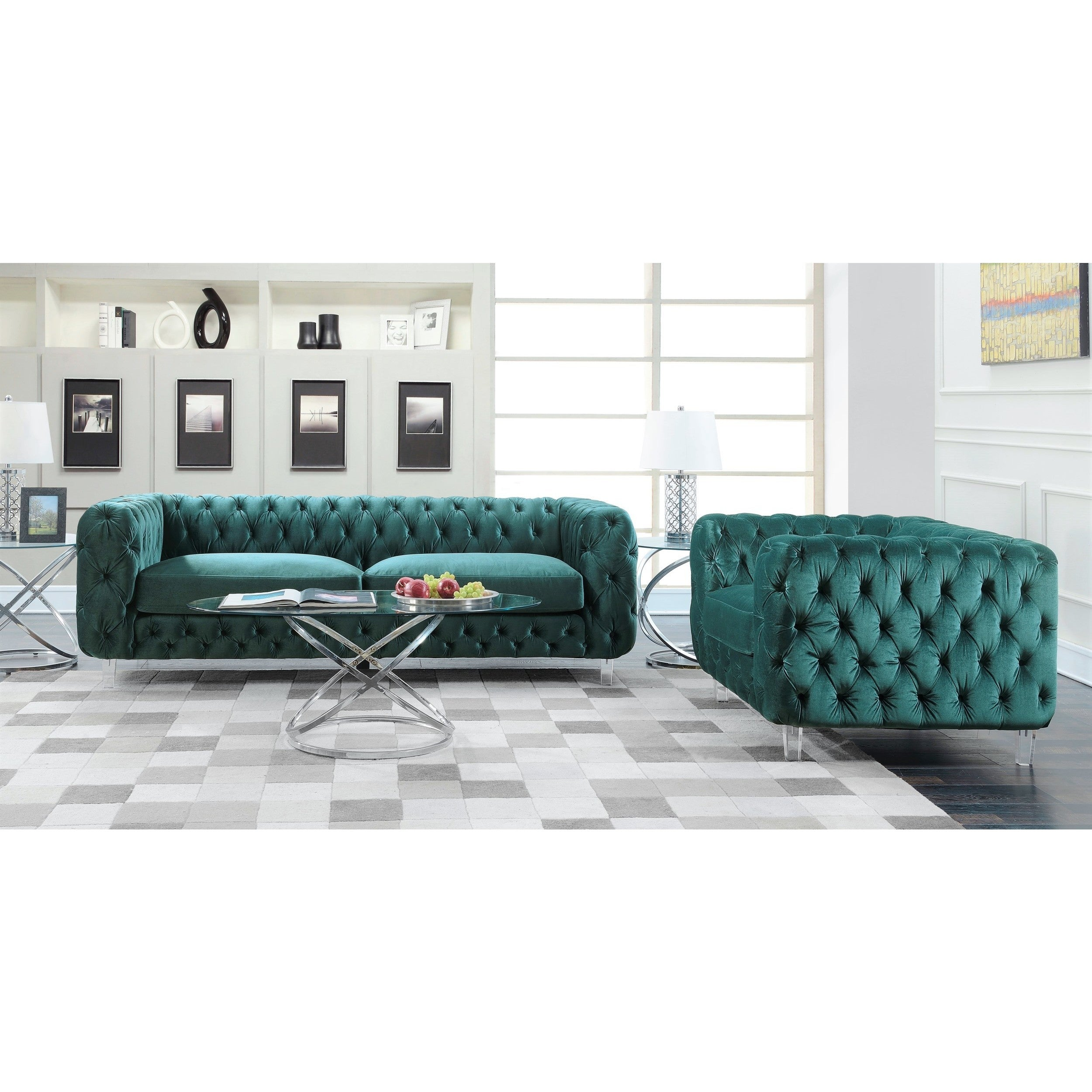 Chic Home Apollo Modern Contemporary Tufted Velvet Down MIx Cushions Sofa -  Free Shipping Today - Overstock.com - 24174719