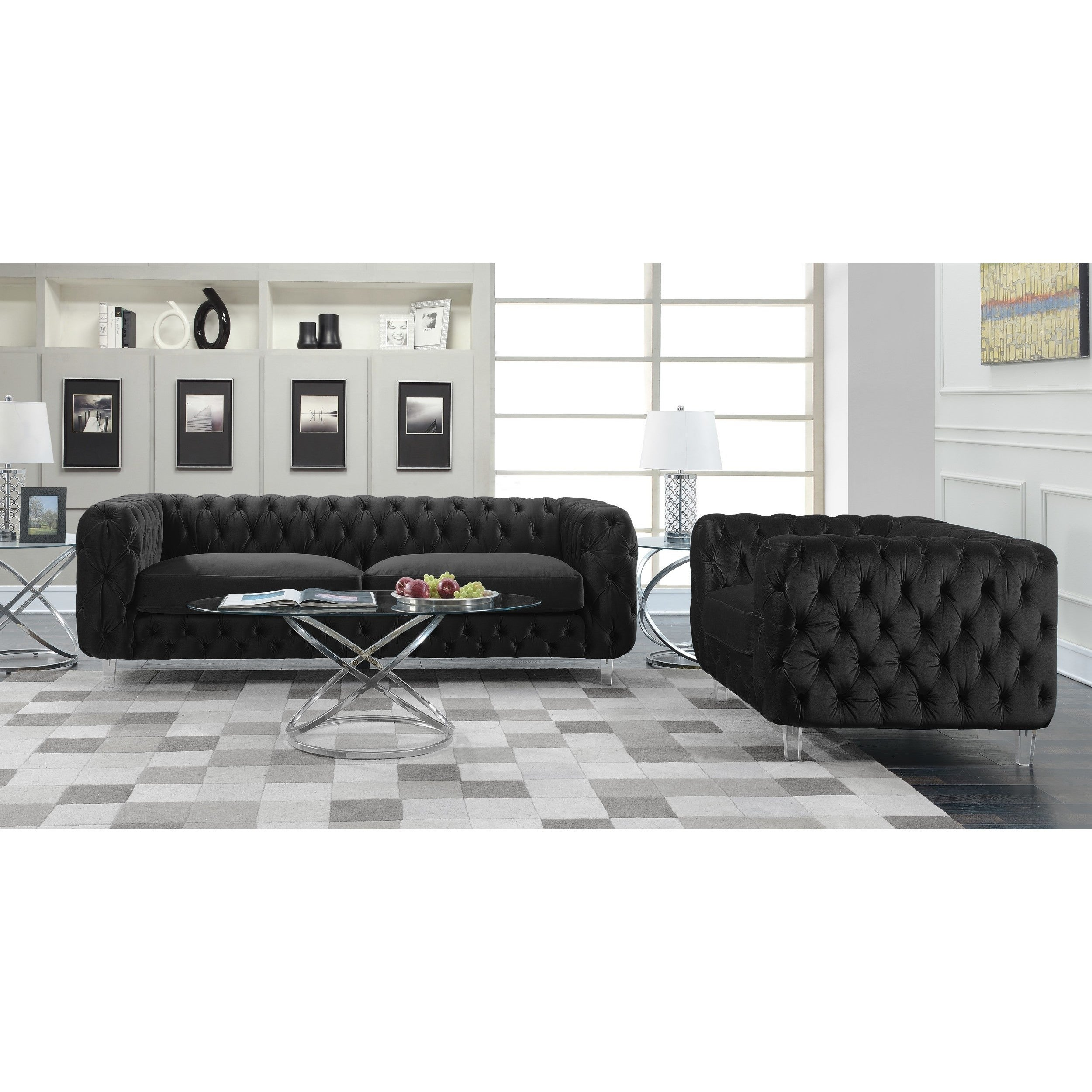 Chic Home Apollo Modern Contemporary Tufted Velvet Down Mix Cushions Sofa On Free Shipping Today 18003816