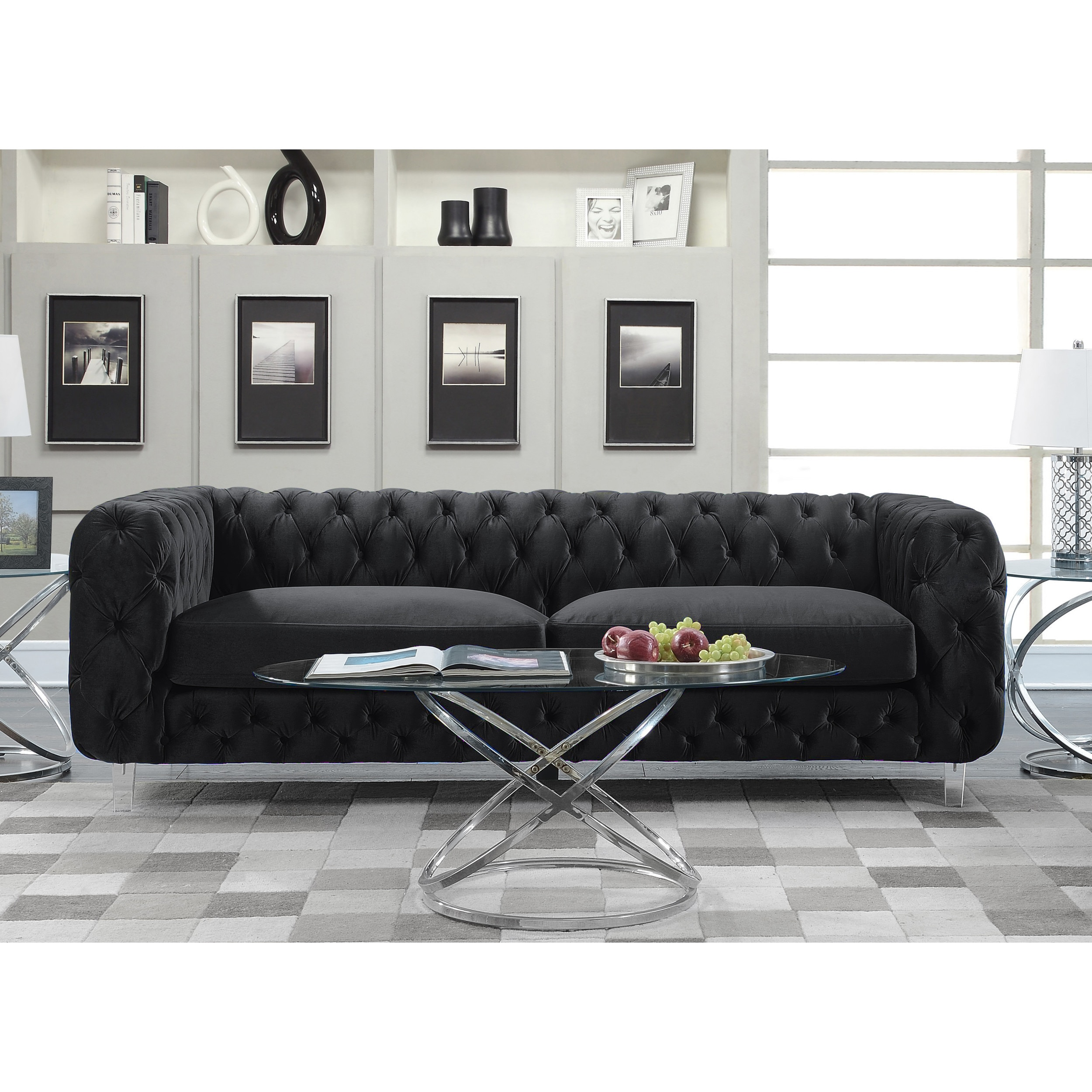 Chic home apollo modern contemporary tufted velvet down mix cushions sofa