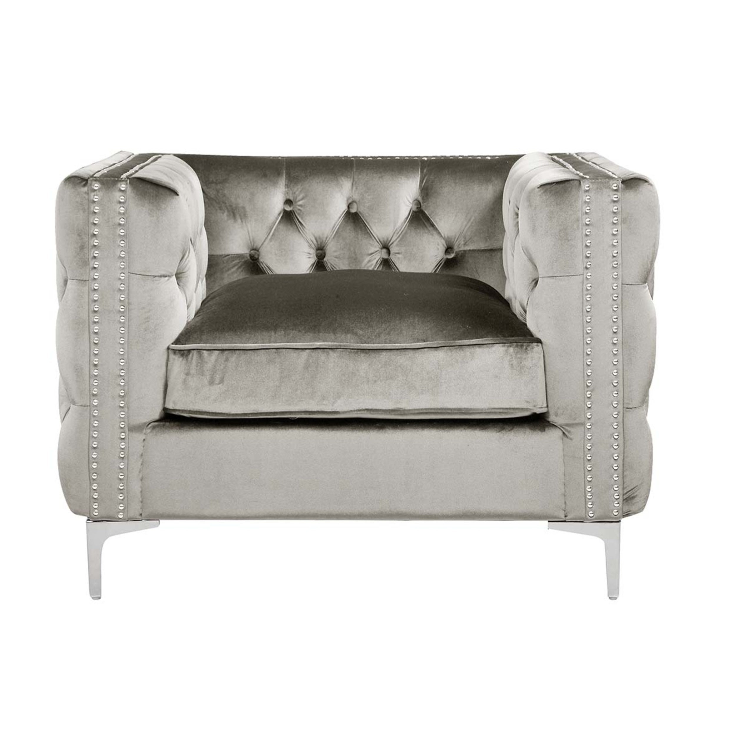 Exceptionnel Shop Chic Home Monet Velvet Modern Contemporary Button Tufted With Silver  Nailhead Trim Silvertone Metal Y Leg Club Chair   On Sale   Free Shipping  Today ...