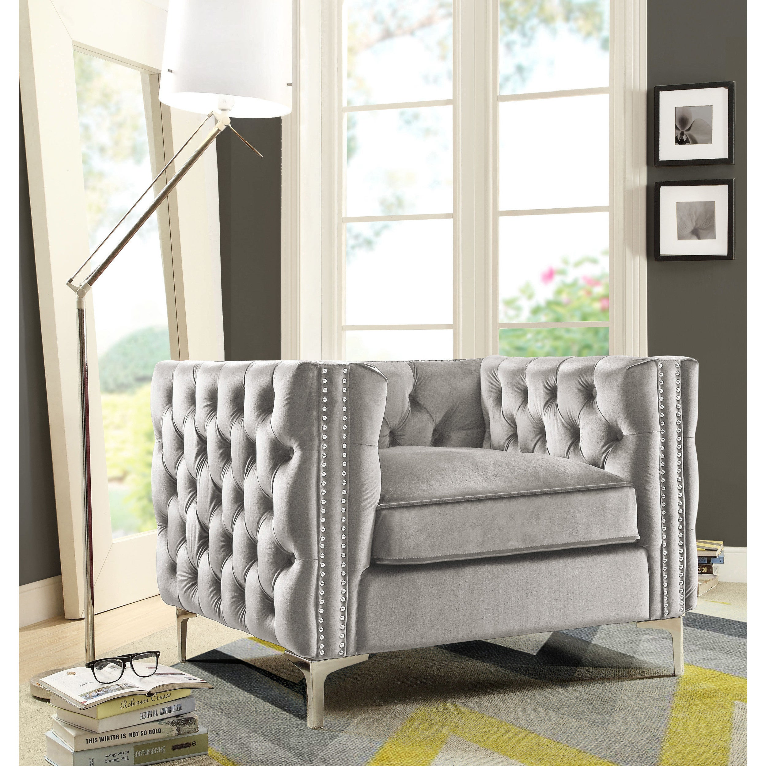 Shop chic home monet velvet modern contemporary button tufted with silver nailhead trim silvertone metal y leg club chair on sale free shipping today