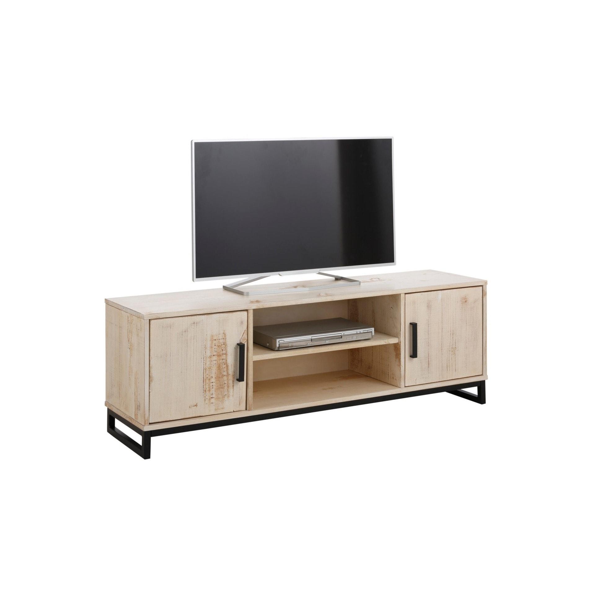 Bezaubernd Lowboard Fernseher Foto Von Shop Santana Distressed Cream Pine/metal 2-door 3-shelf