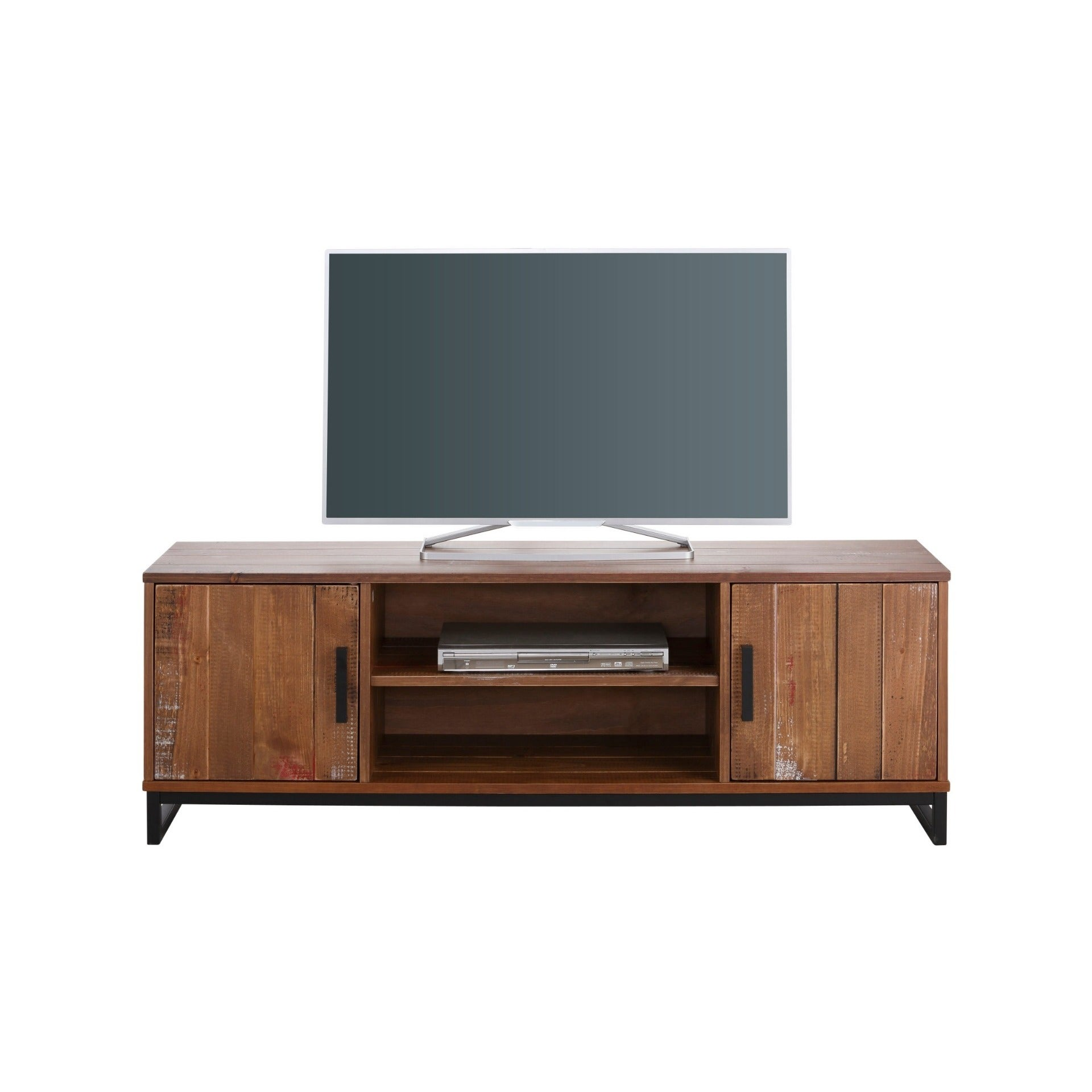 Elegant Shop Santana Distressed Cream Pine/Metal 2 Door 3 Shelf TV Lowboard   On  Sale   Free Shipping Today   Overstock.com   18003849