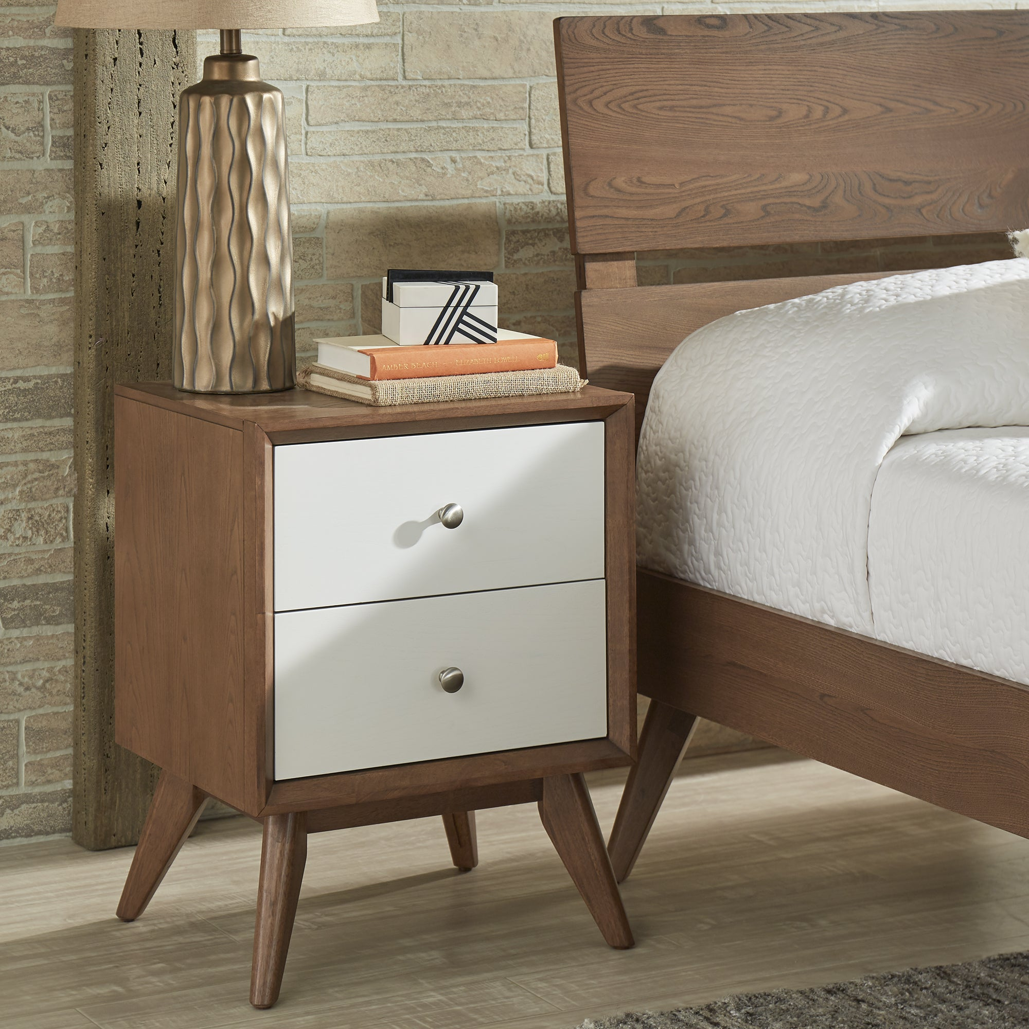 Sylvia Mid Century White and Walnut 2 Drawer Nightstand by iNSPIRE Q Modern  - Free Shipping Today - Overstock.com - 24174749