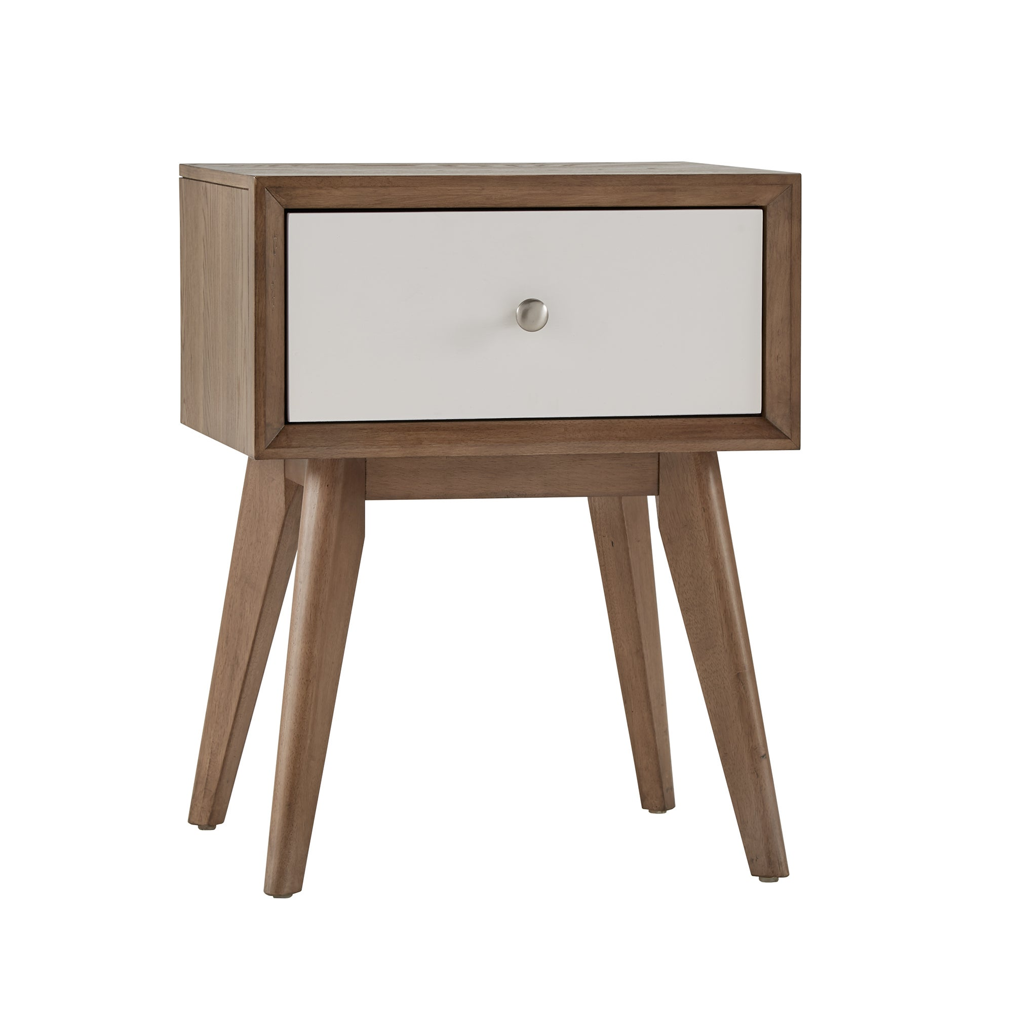 Sylvia Mid Century White And Walnut 1 Drawer Nightstand By INSPIRE Q Modern    Free Shipping Today   Overstock.com   24174750