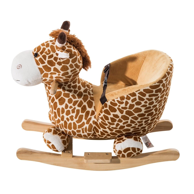 Bon Shop Qaba Kids Plush Rocking Horse Style Giraffe Theme Chair   Free  Shipping Today   Overstock.com   18004652