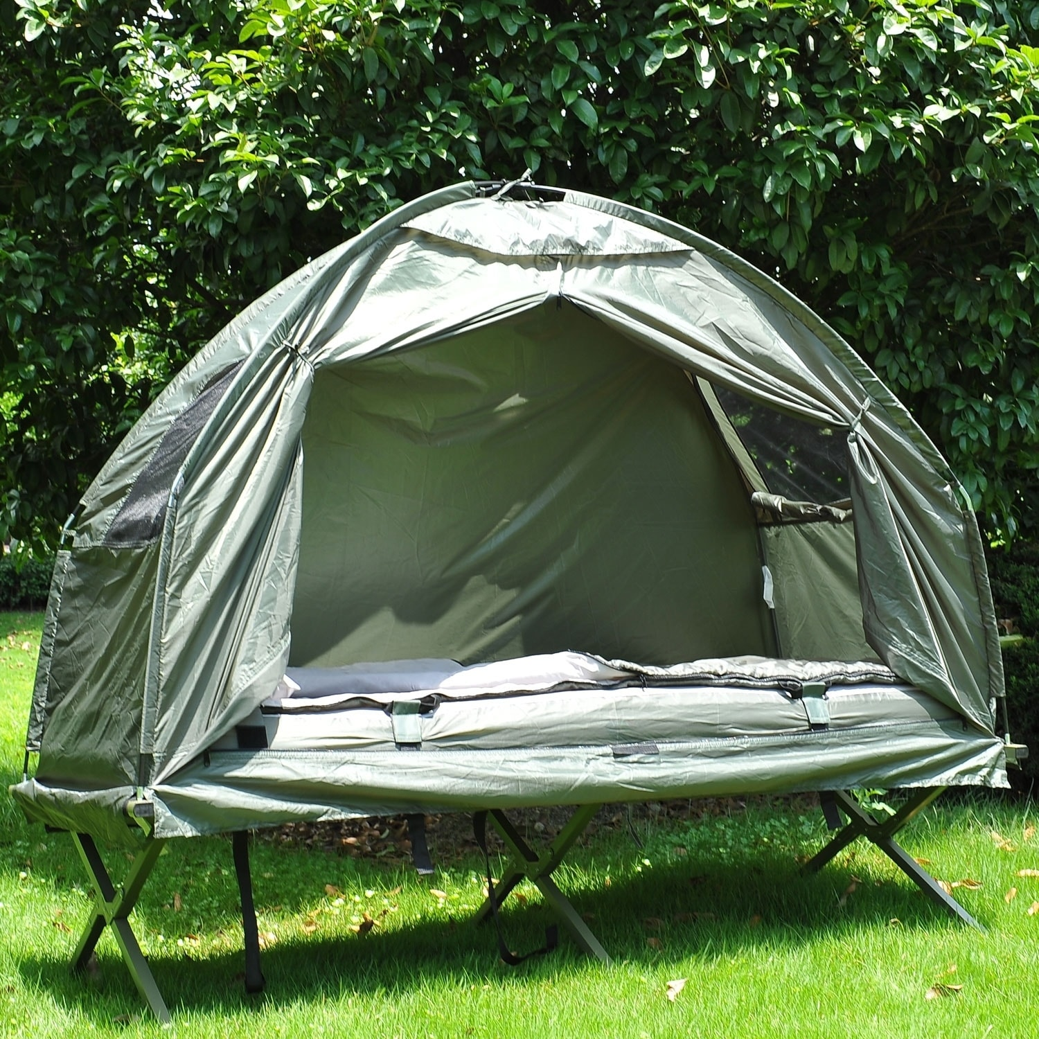 Outsunny Pop Up Tent Cot with Air Mattress and Sleeping Bag Combo - Free Shipping Today - Overstock.com - 24175546 & Outsunny Pop Up Tent Cot with Air Mattress and Sleeping Bag Combo ...