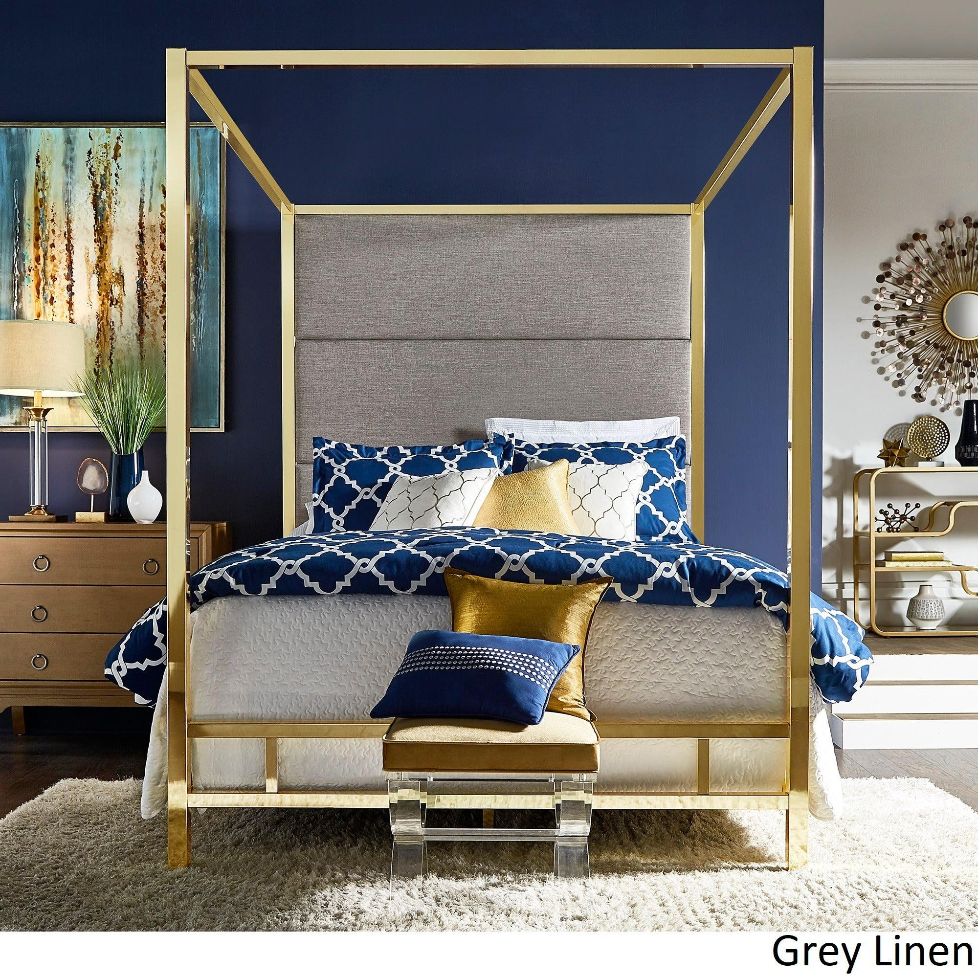Evie Gold Metal Canopy Bed with Linen Panel Headboard by iNSPIRE Q Bold -  Free Shipping Today - Overstock.com - 24177413