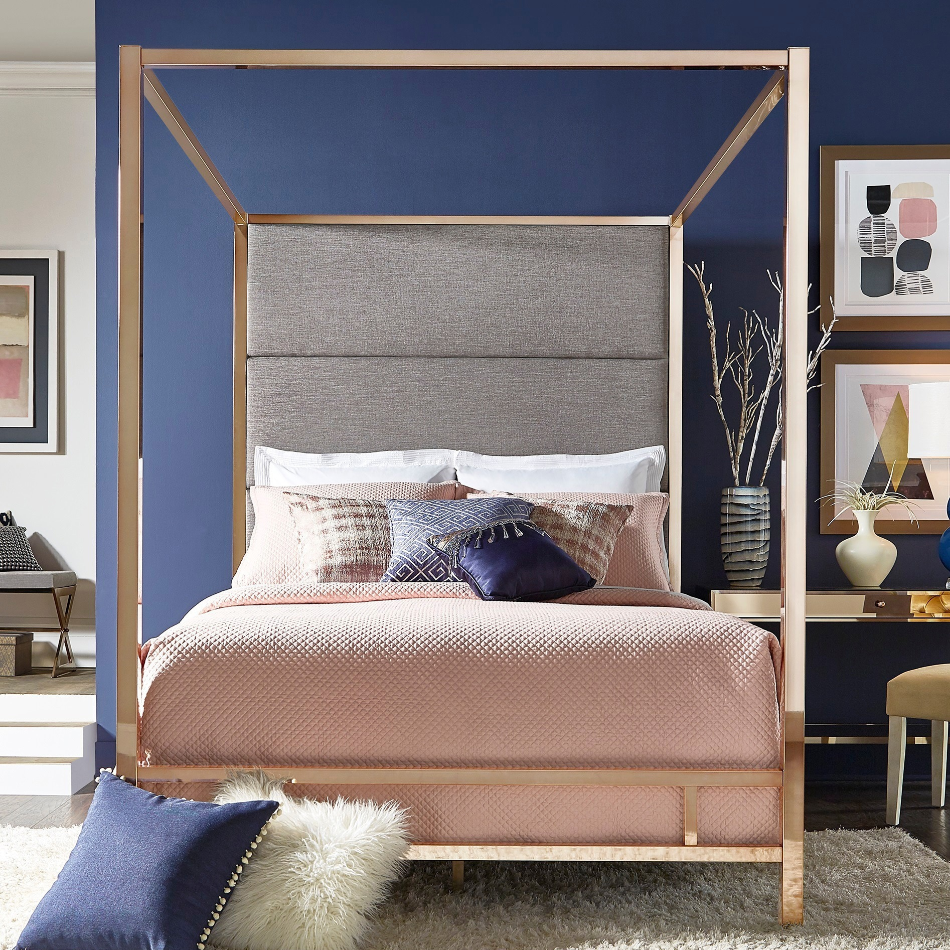 Canopy Bed.Evie Champagne Gold Metal Canopy Bed With Linen Panel Headboard By Inspire Q Bold
