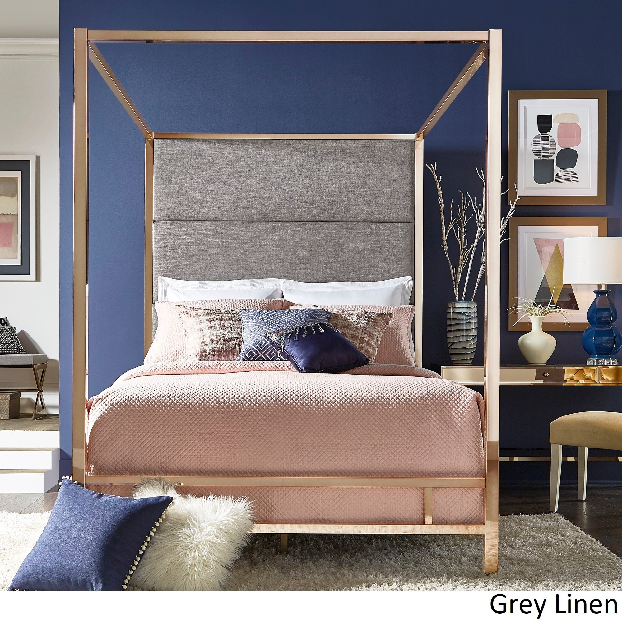 Evie Champagne Gold Metal Canopy Bed with Linen Panel Headboard by iNSPIRE Q  Bold - Free Shipping Today - Overstock.com - 24177637