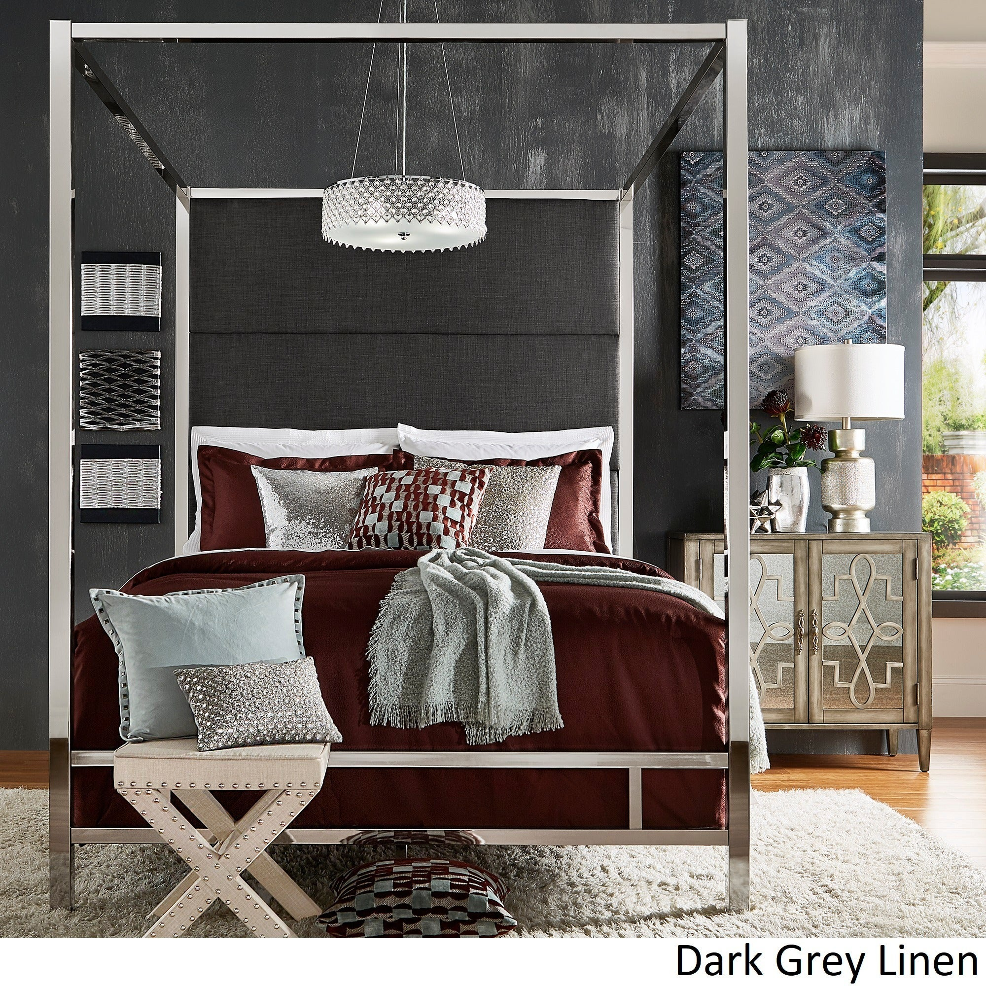 Shop Evie Chrome Metal Canopy Bed with Linen Panel Headboard by iNSPIRE Q Bold - On Sale - Free Shipping Today - Overstock - 18007304 & Shop Evie Chrome Metal Canopy Bed with Linen Panel Headboard by ...