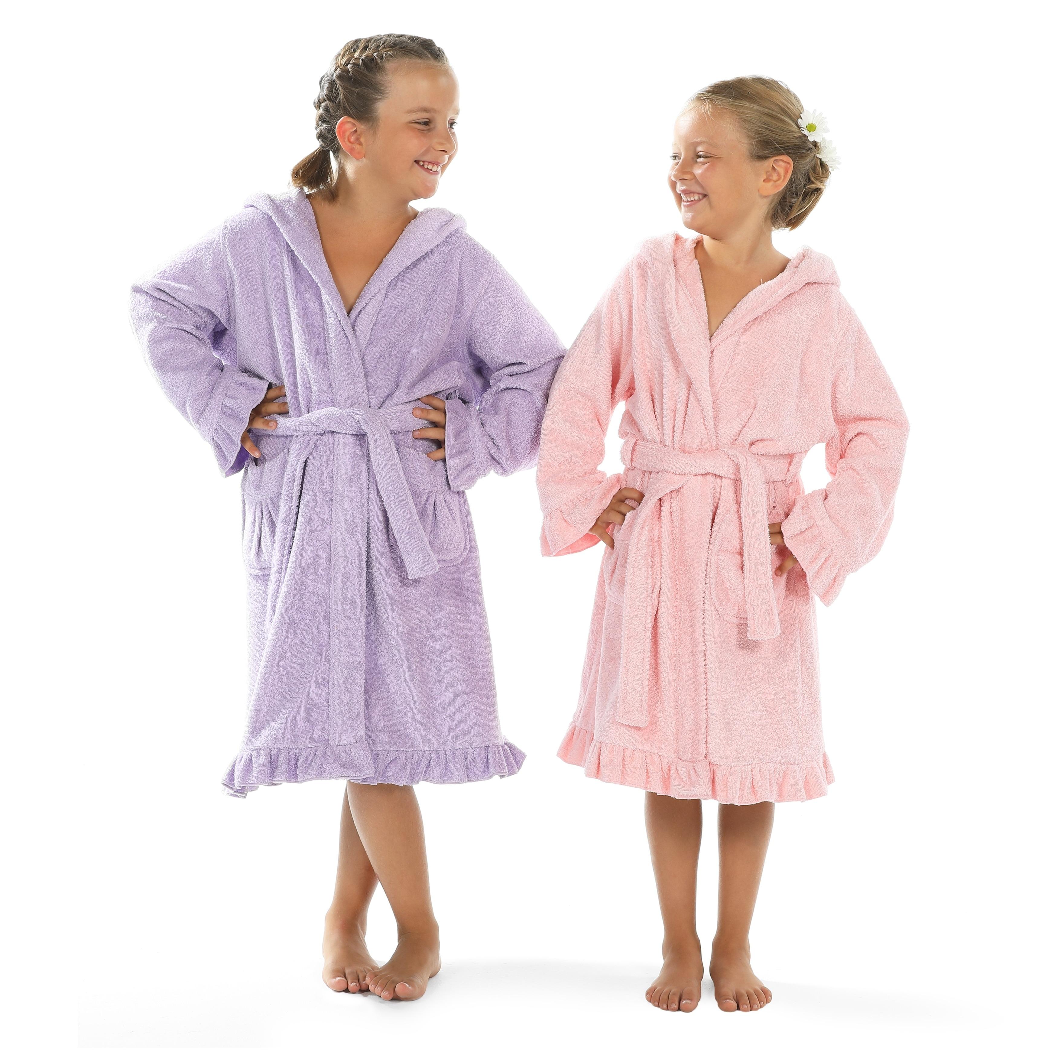 Shop Sweet Kids Ruffled Turkish Cotton Hooded Terry Bathrobe - Free ... 5f573f8a4