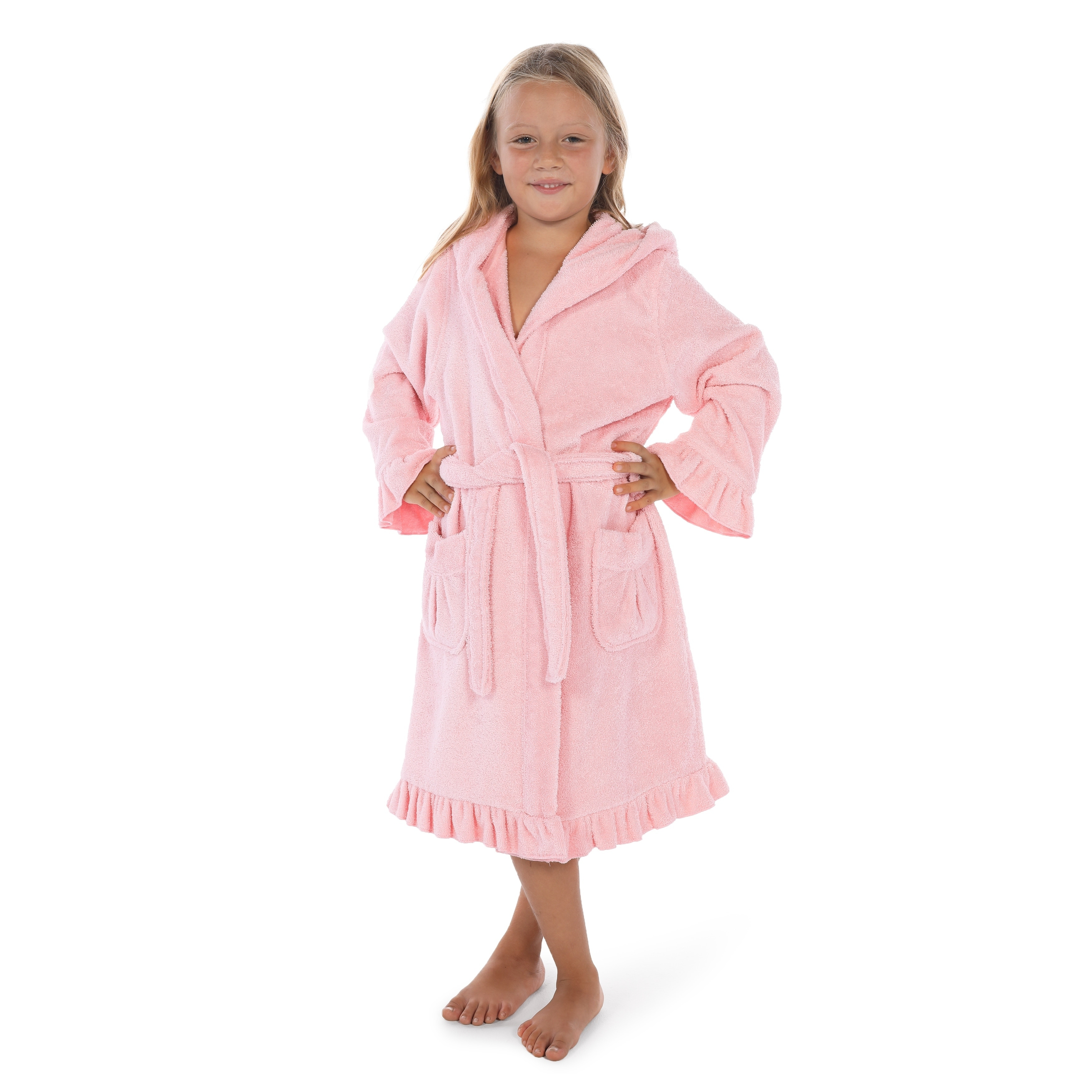 Shop Sweet Kids Ruffled Turkish Cotton Hooded Terry Bathrobe - On Sale -  Ships To Canada - Overstock - 18007869 d3be5b4e0