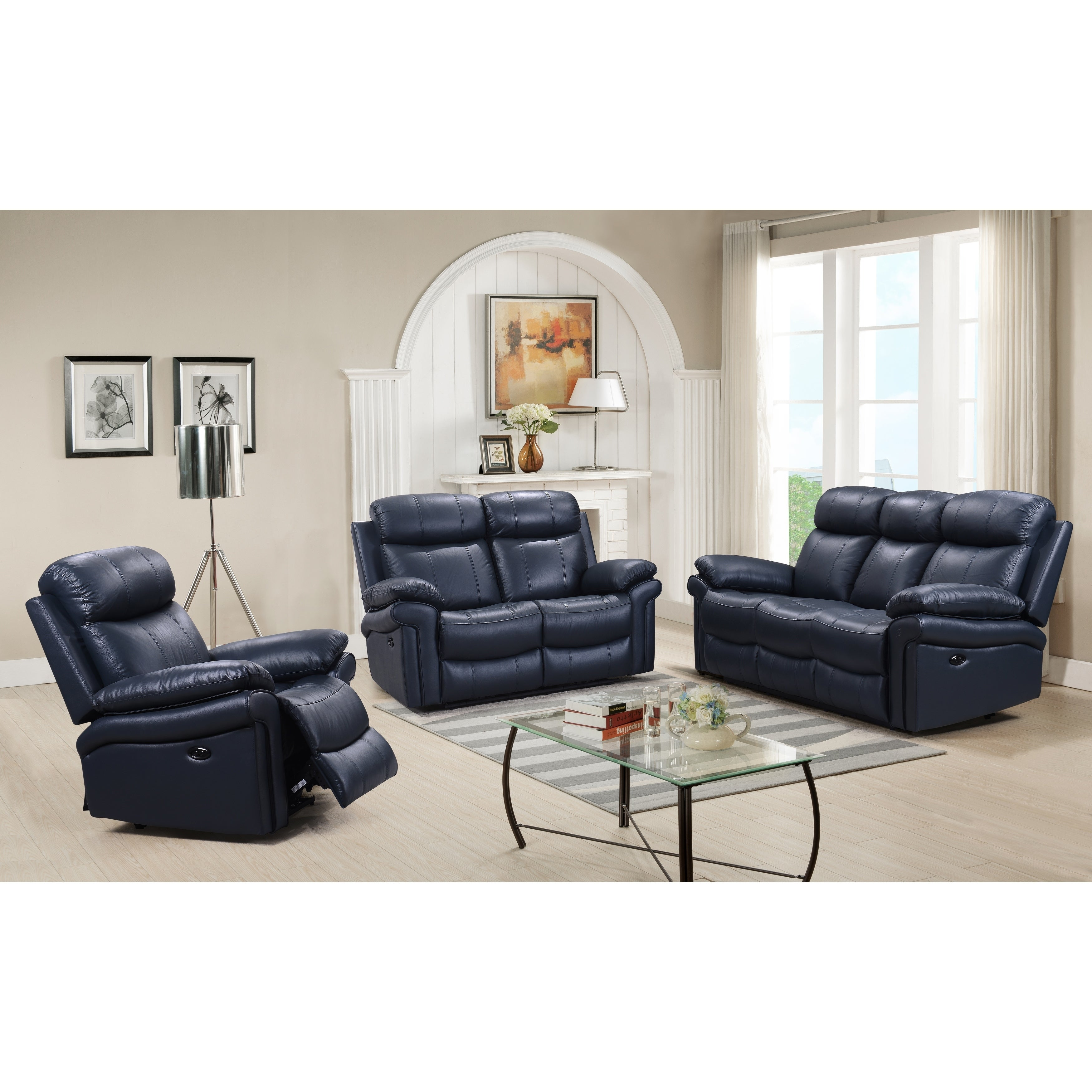 Shop Hudson Power Reclining Top Grain Leather Sofa (Brown/ Blue/ Red)    Free Shipping Today   Overstock.com   18007984