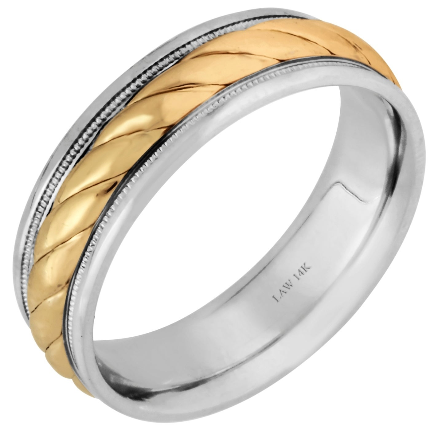 14k two-tone gold rope design comfort fit women's wedding bands