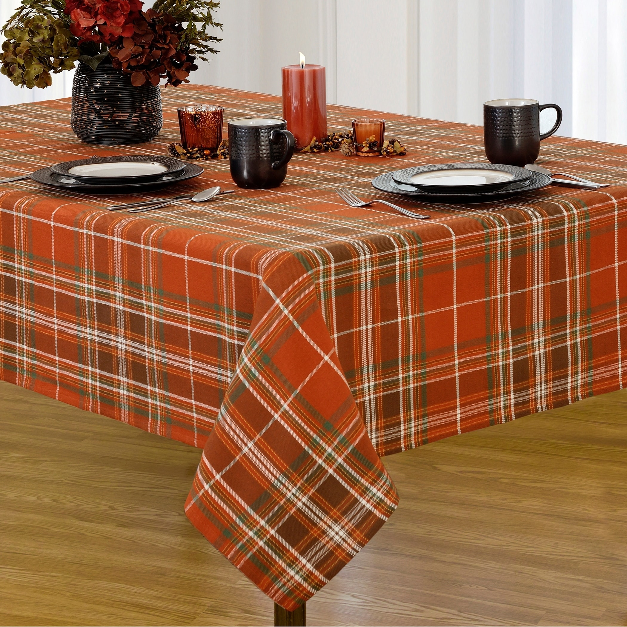 Shop Loden Plaid Fabric Harvest Cotton Woven Tablecloth   Free Shipping  Today   Overstock.com   18008744