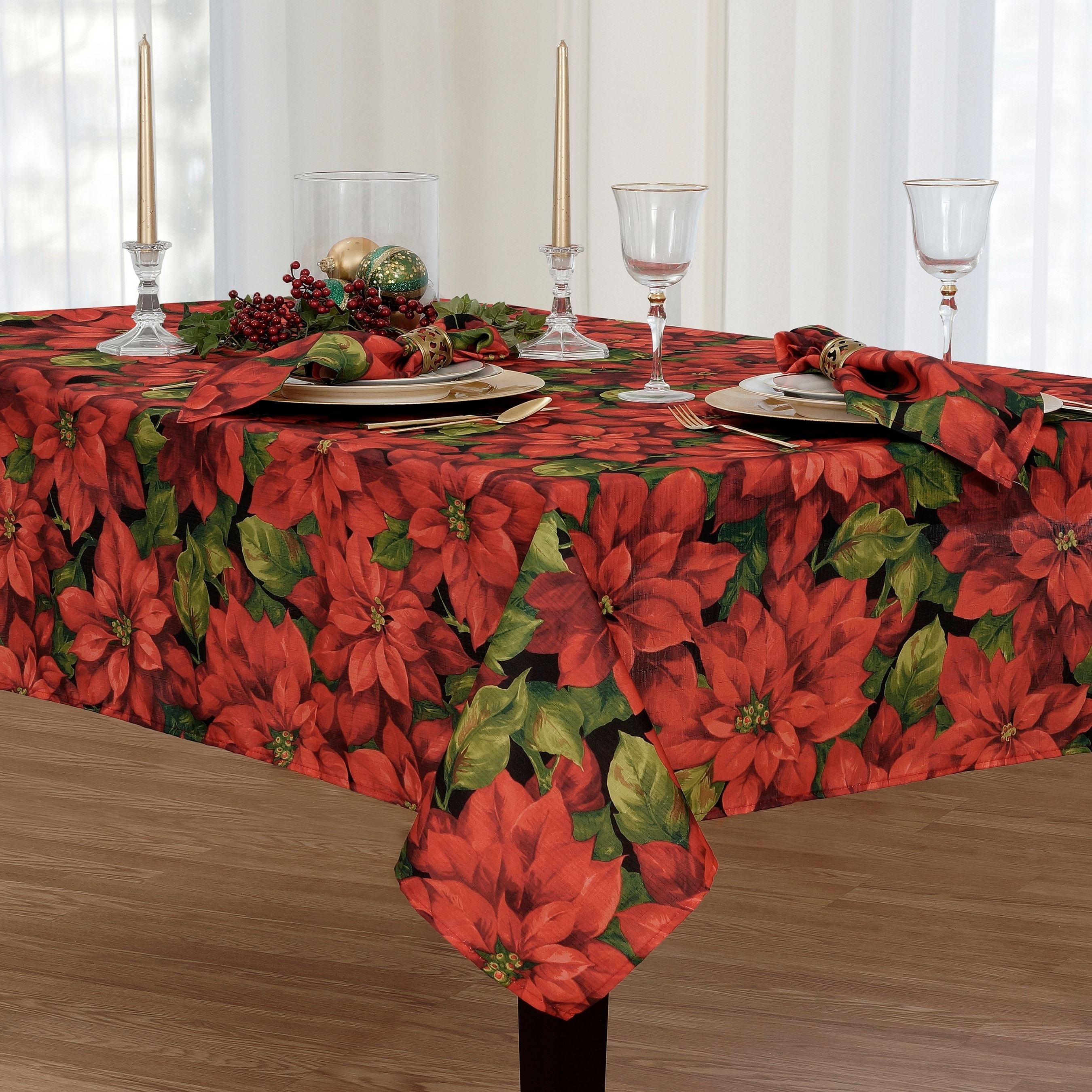Shop Poinsettia Celebration Printed Fabric Christmas Tablecloth   Free  Shipping On Orders Over $45   Overstock   18008748