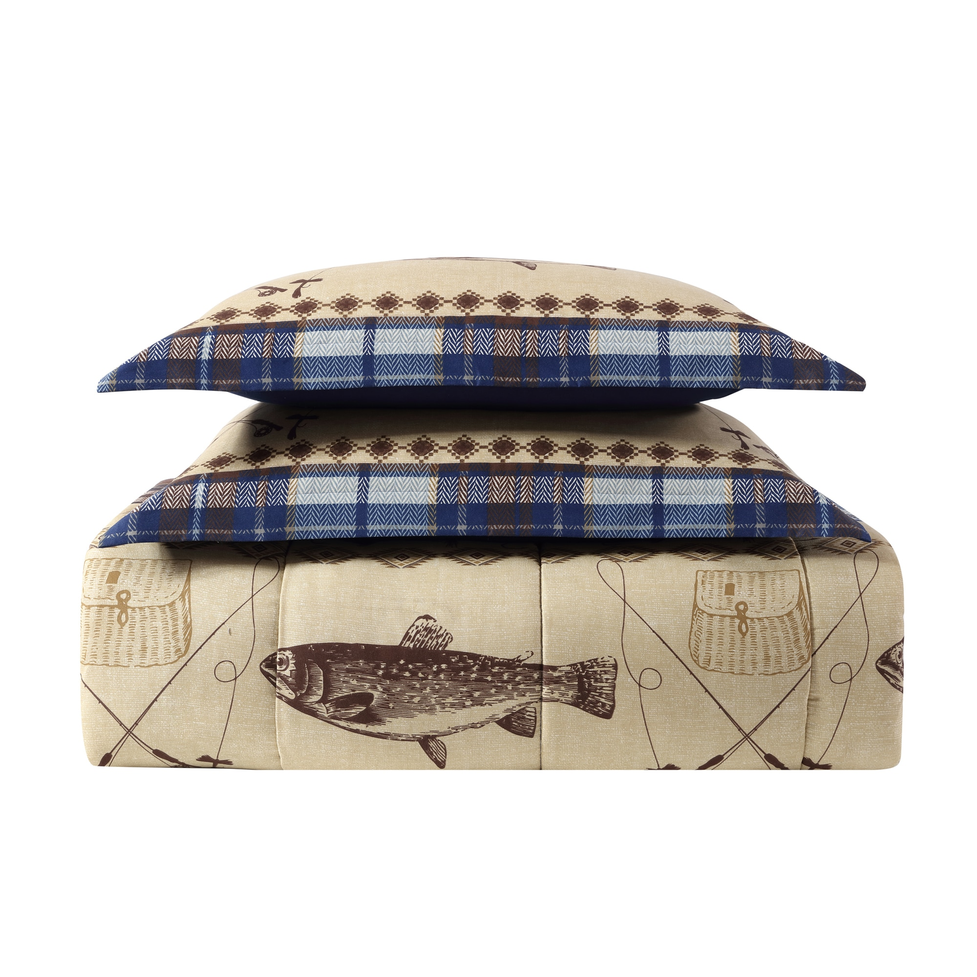 Remington Fly Fishing 3 Piece Printed Lodge Comforter Mini Set  # Fly Meubles Audio Bois