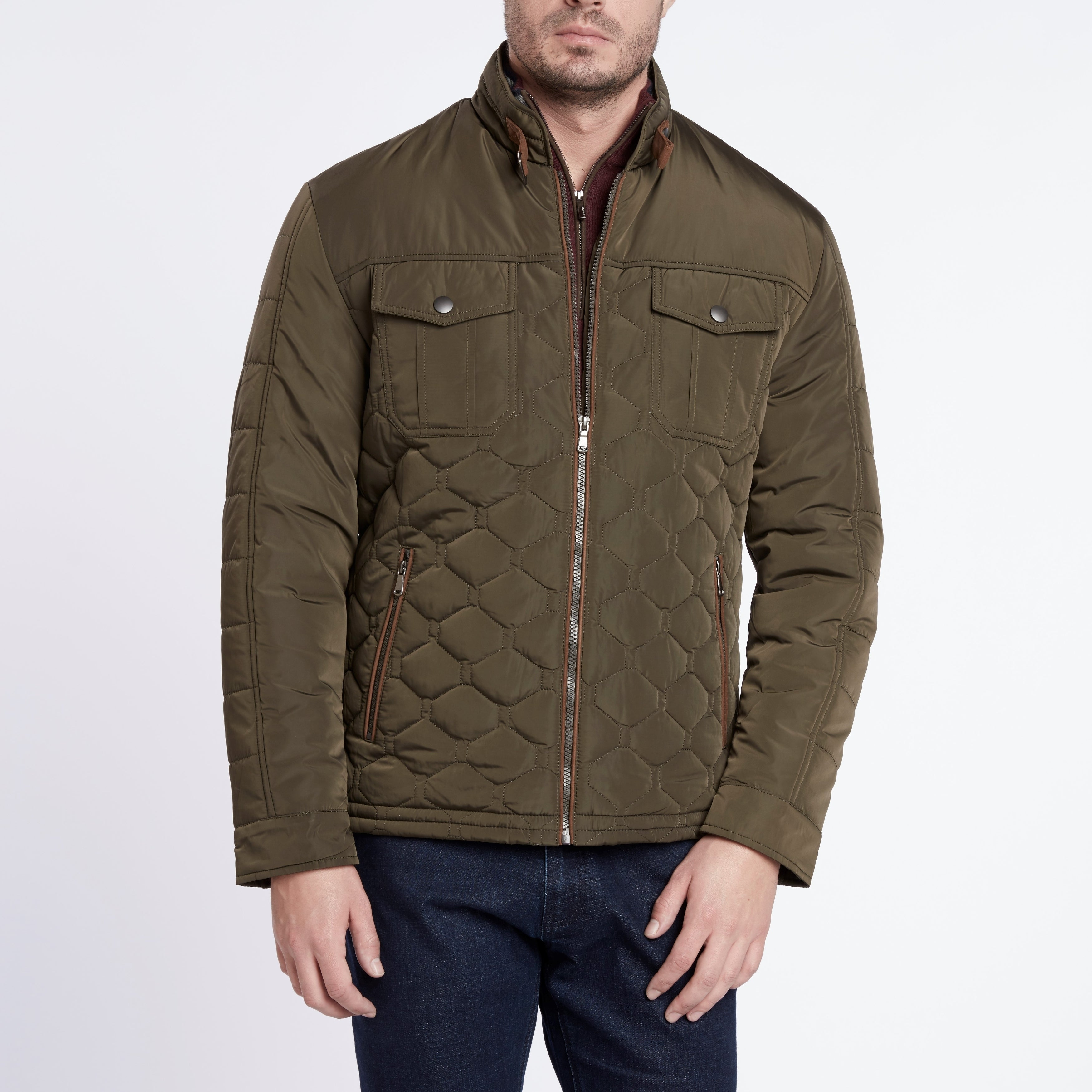 Shop Light Weight Olive Quilted Jacket On Sale Free Shipping